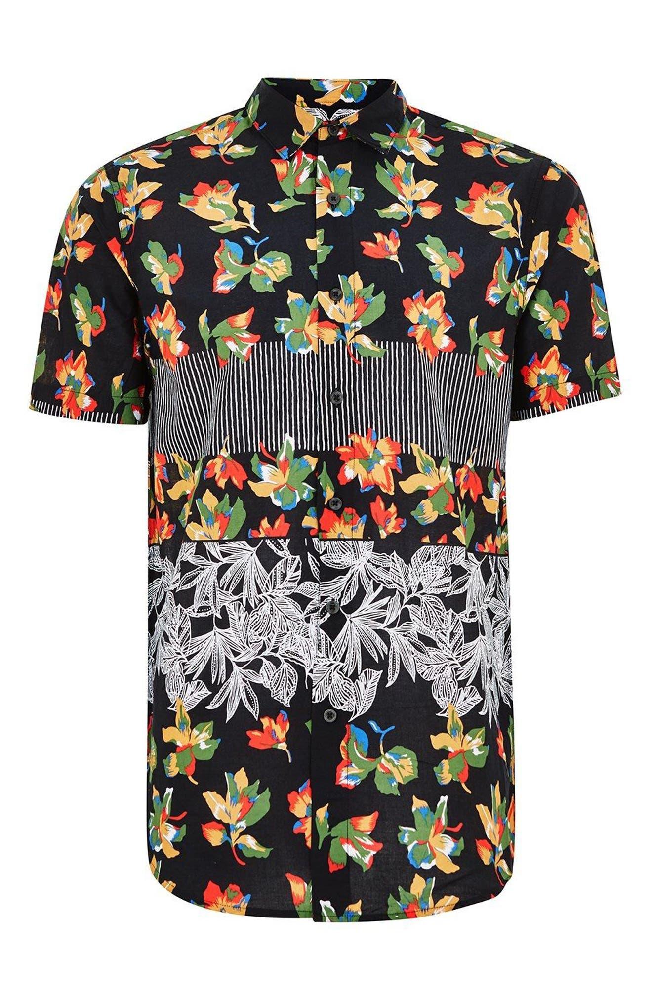 Multi Print Shirt,                             Alternate thumbnail 4, color,                             Black Multi