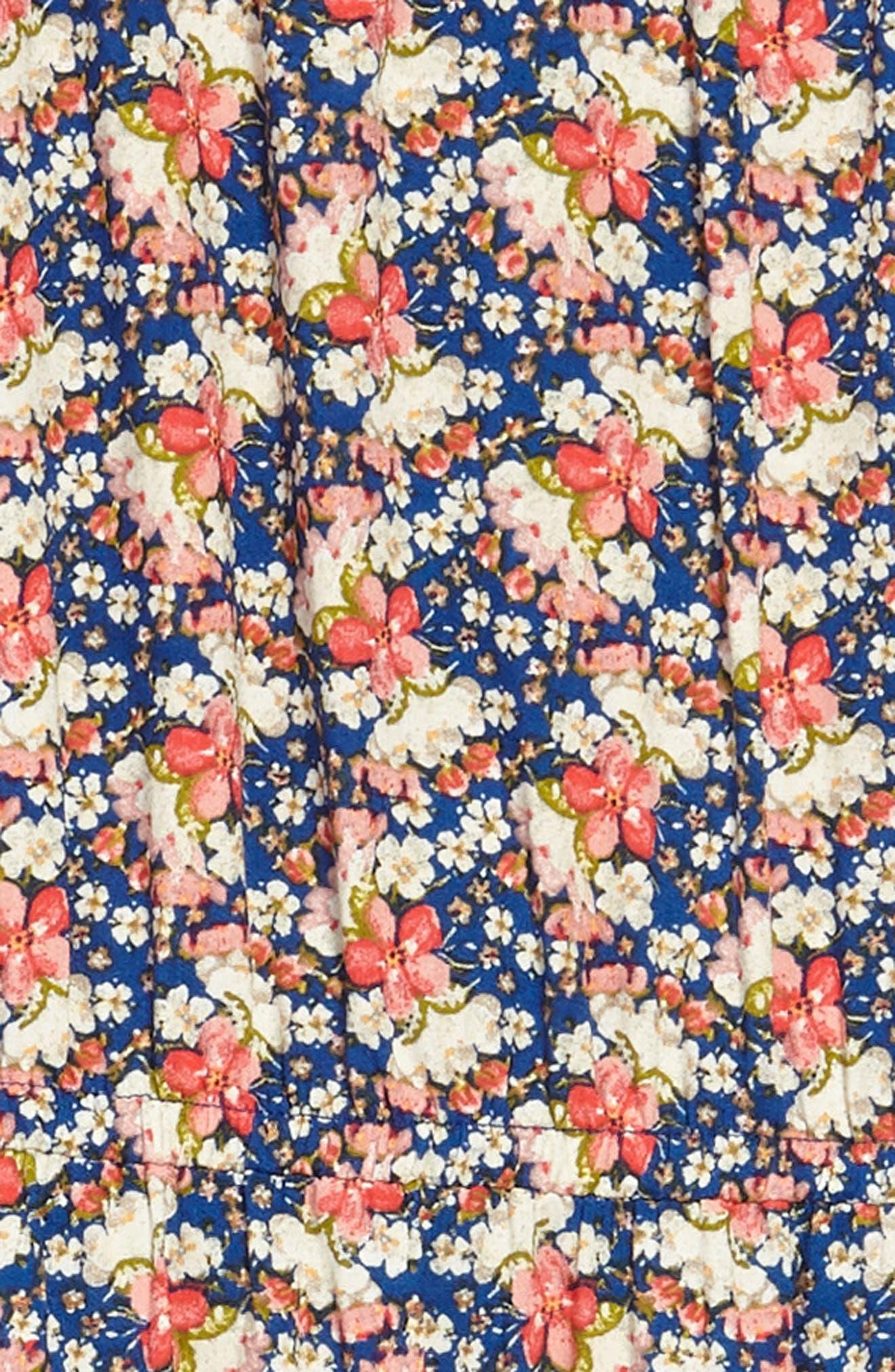 Floral Print Halter Dress,                             Alternate thumbnail 3, color,                             Royal Floral