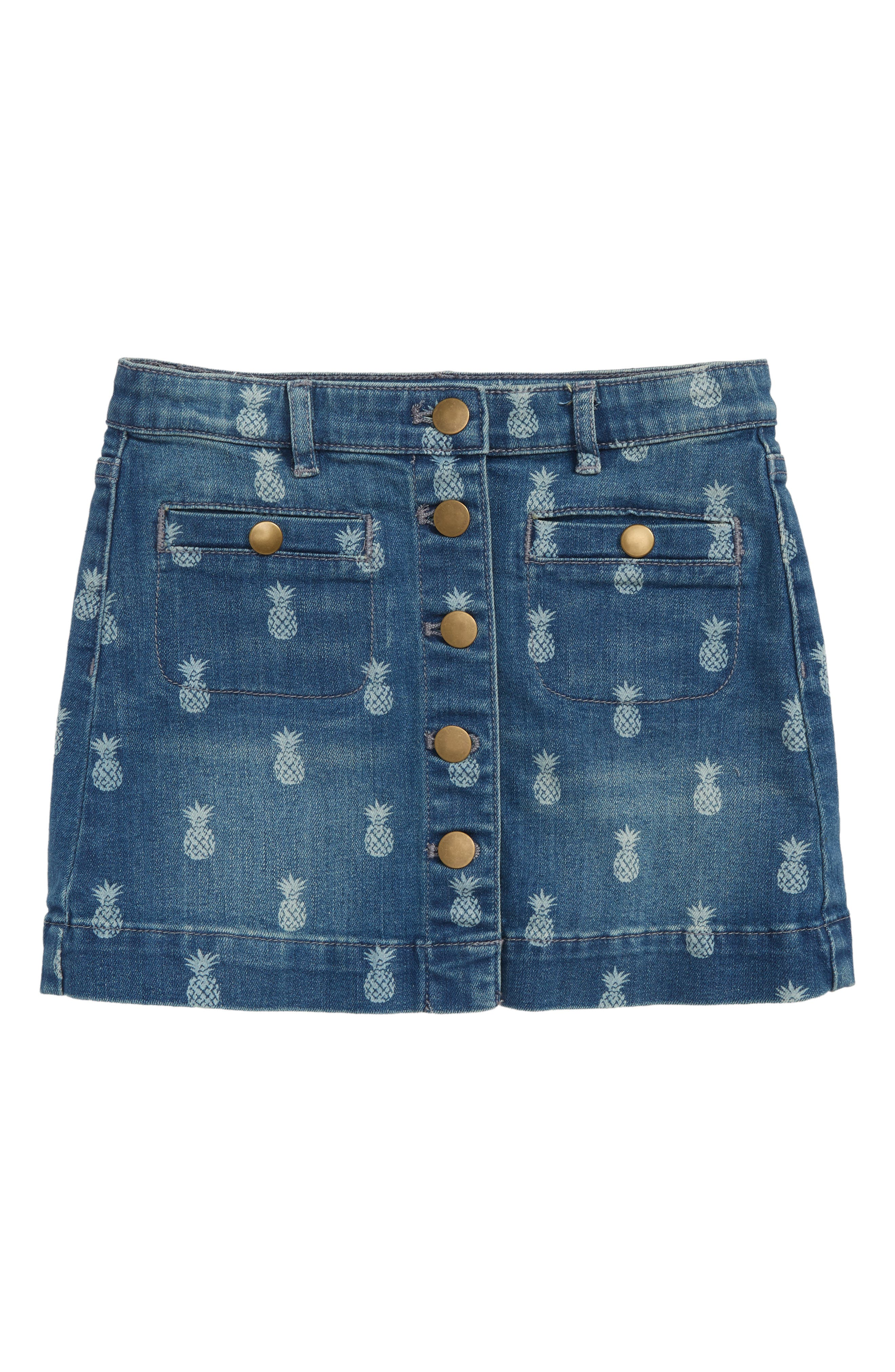 Pineapple Print Denim Skirt,                             Main thumbnail 1, color,                             Indigo Ivory