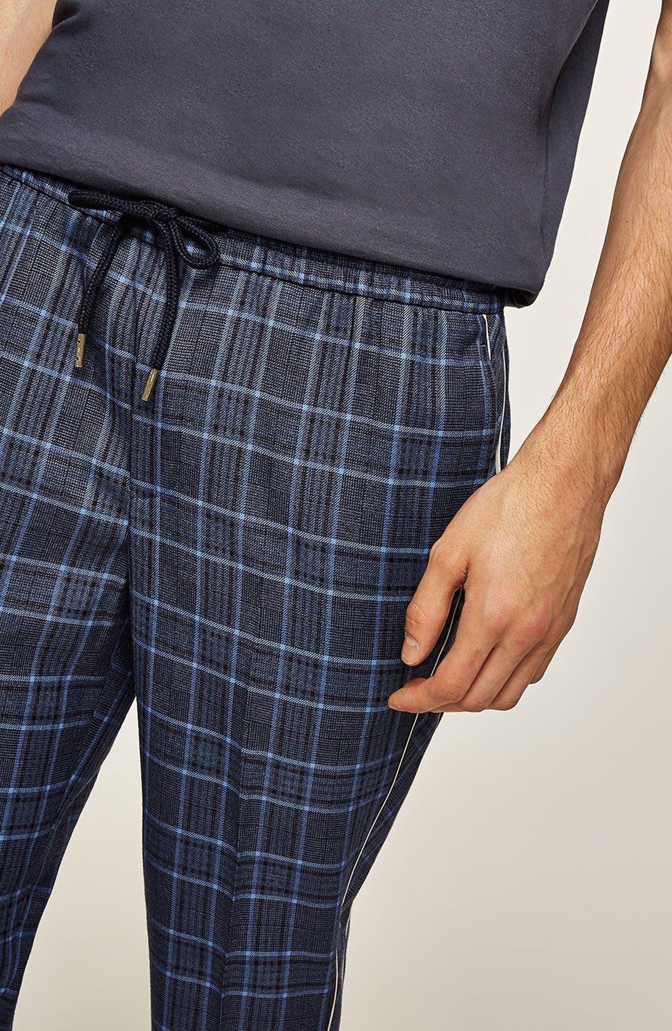 Check Cropped Jogger Pants,                             Alternate thumbnail 3, color,                             Blue Multi