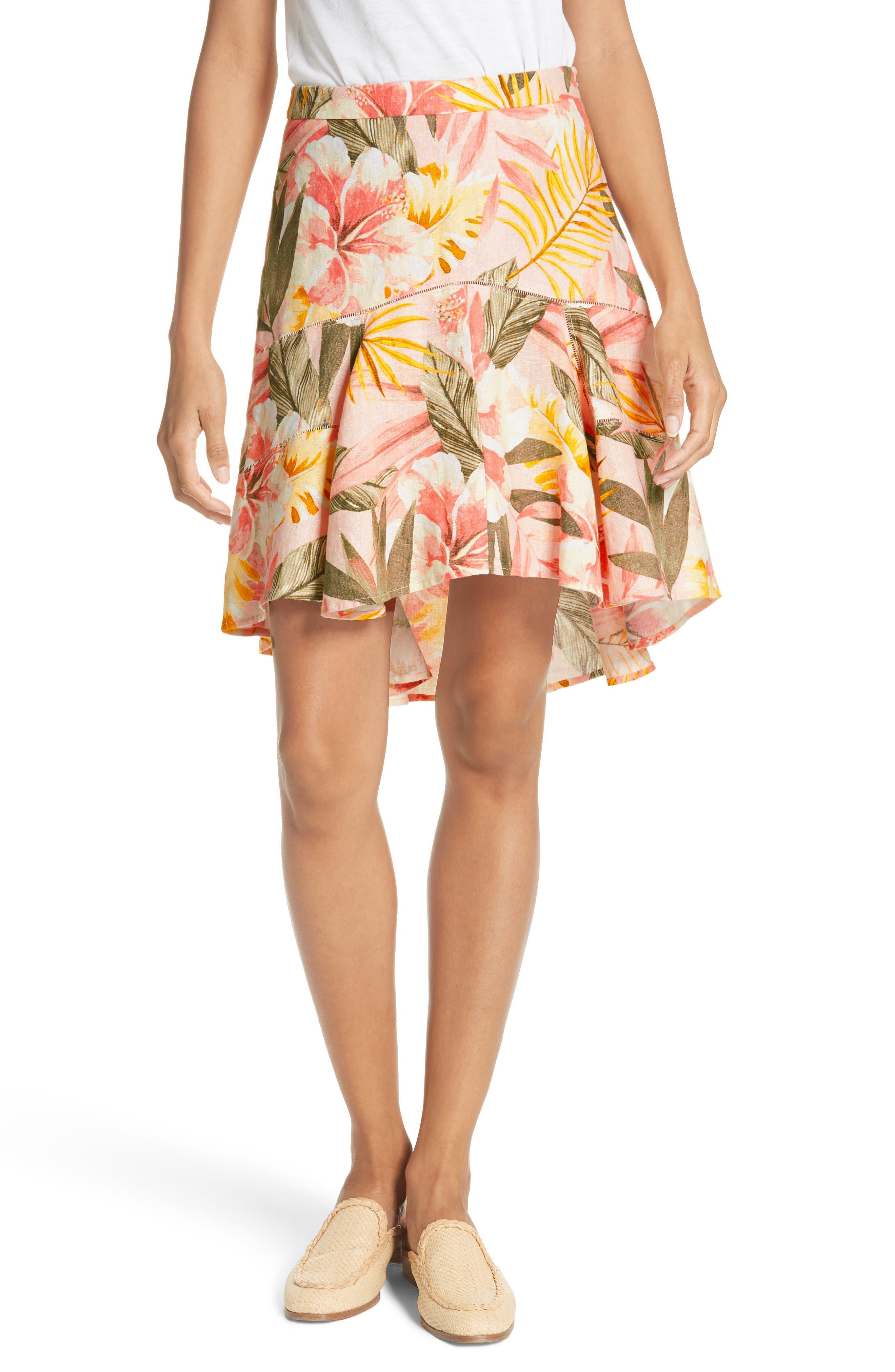 Radhiya Linen Floral Ruffle Skirt,                         Main,                         color, Dusty Nude