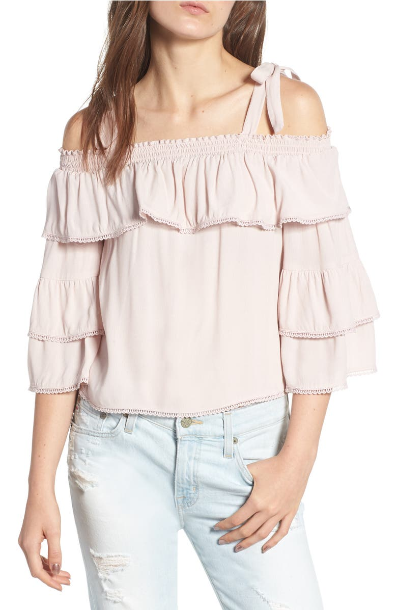 ff3645c89bebe WILLOW   CLAY LACE TRIM COLD SHOULDER TOP