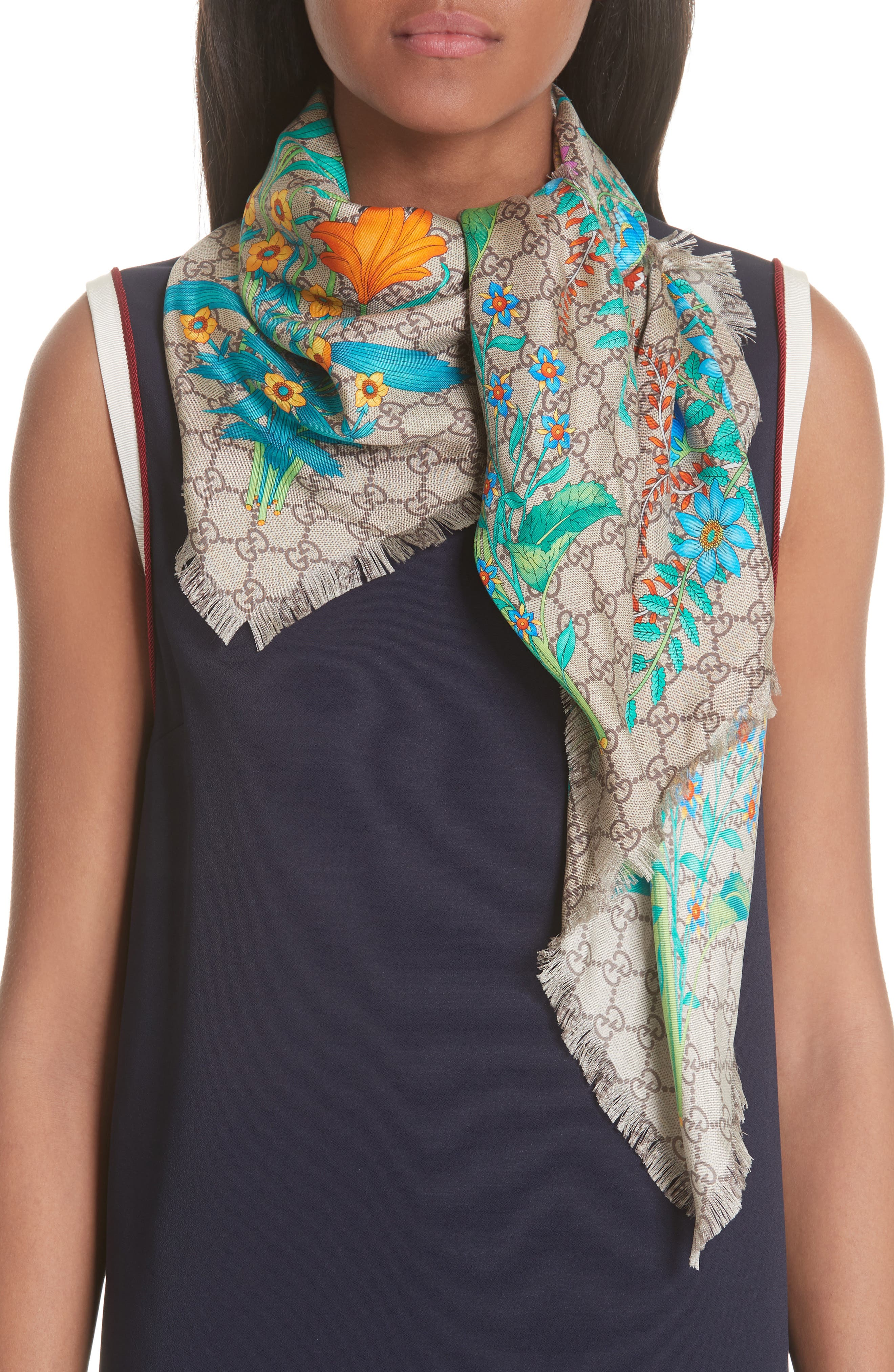 GG New Floral Scarf,                         Main,                         color, Multicolor