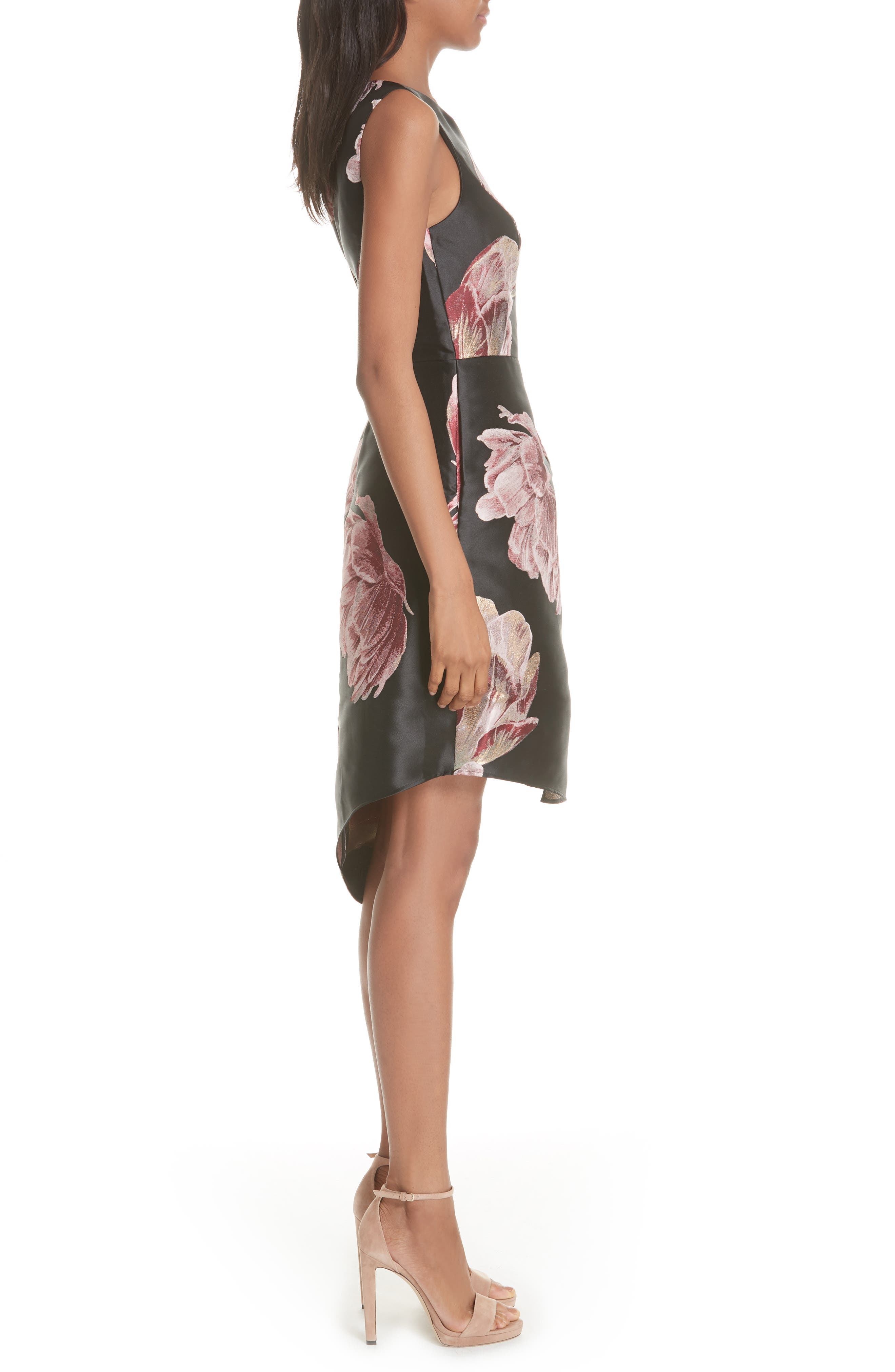 Eyvii Bay of Honour Asymmetrical Dress,                             Alternate thumbnail 3, color,                             Black