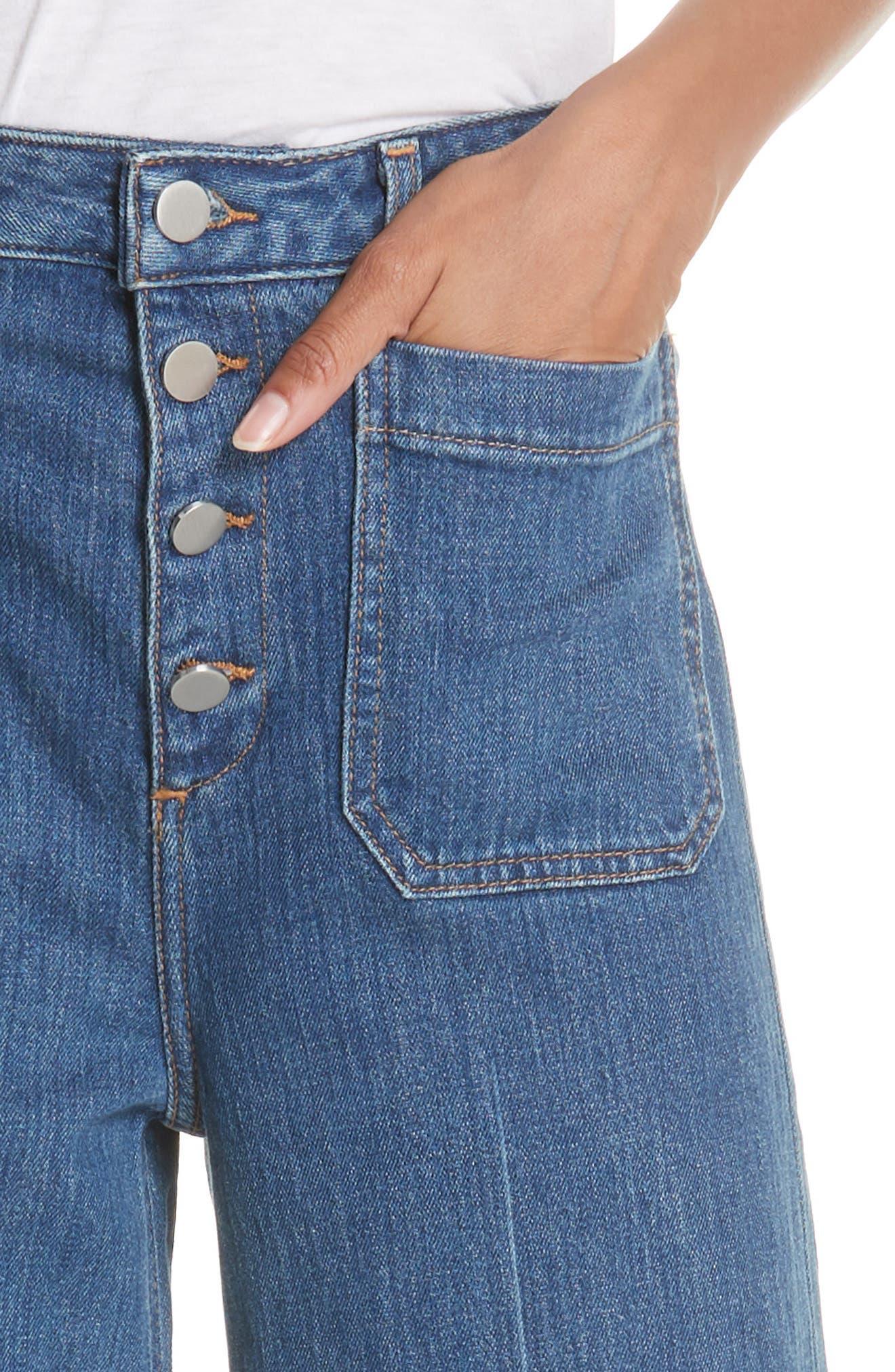 Carmine Wide Leg Jeans,                             Alternate thumbnail 4, color,                             Medium Denim
