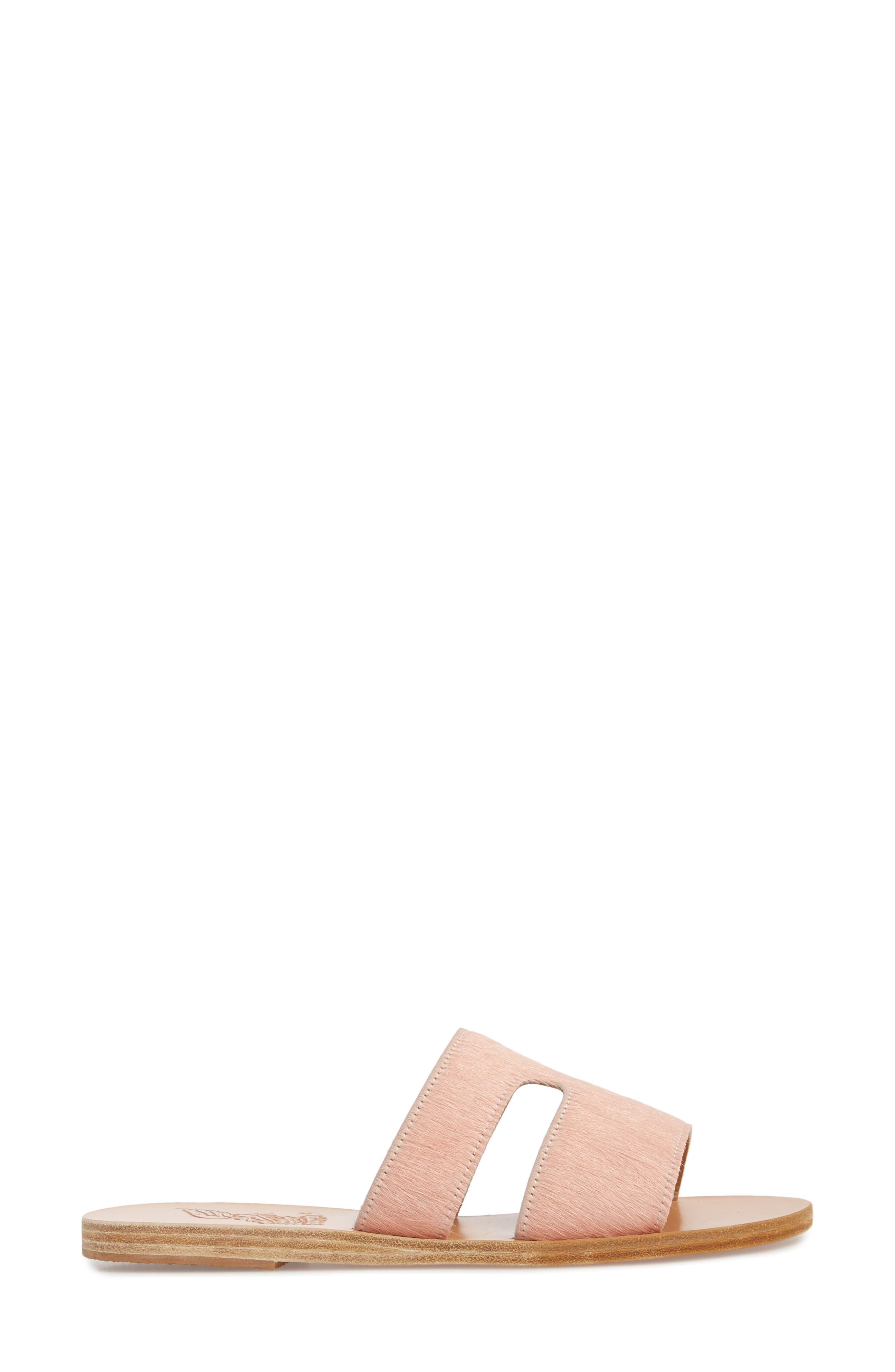 Apteros Genuine Calf Hair Slide Sandal,                             Alternate thumbnail 3, color,                             Pink Pony