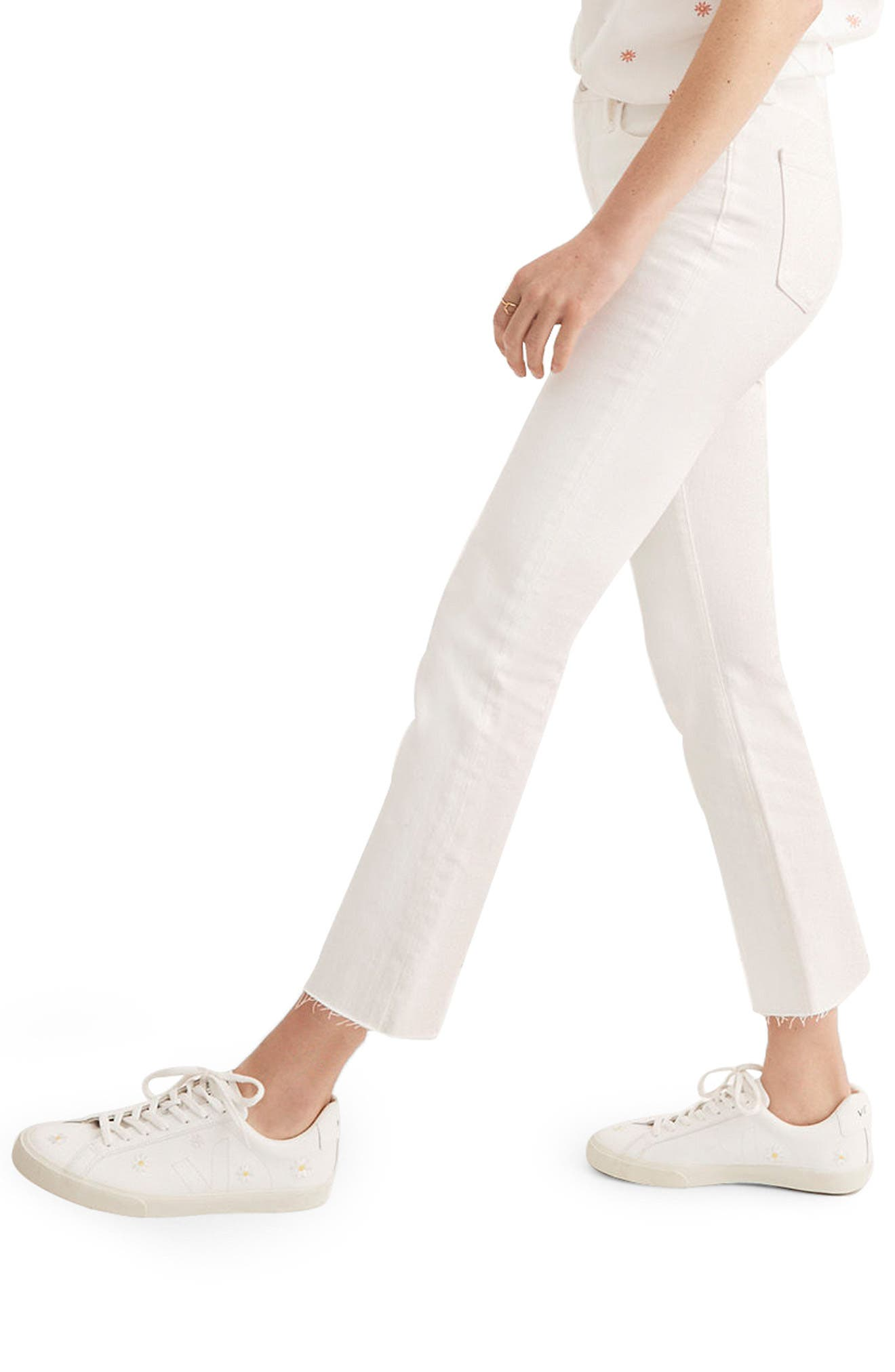 Cali Raw Edge Demi Boot Jeans,                             Alternate thumbnail 3, color,                             Pure White