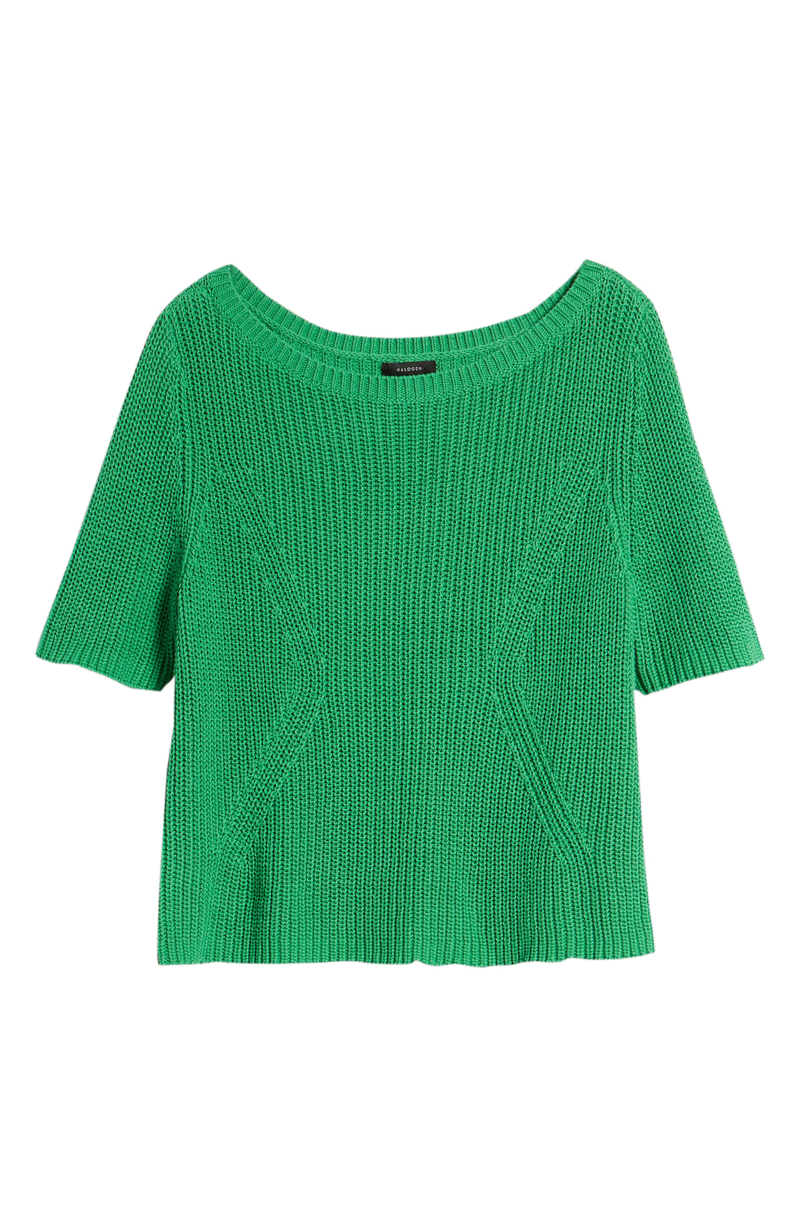 Shaker Stitch Cotton Sweater,                             Alternate thumbnail 6, color,                             Green Kelly