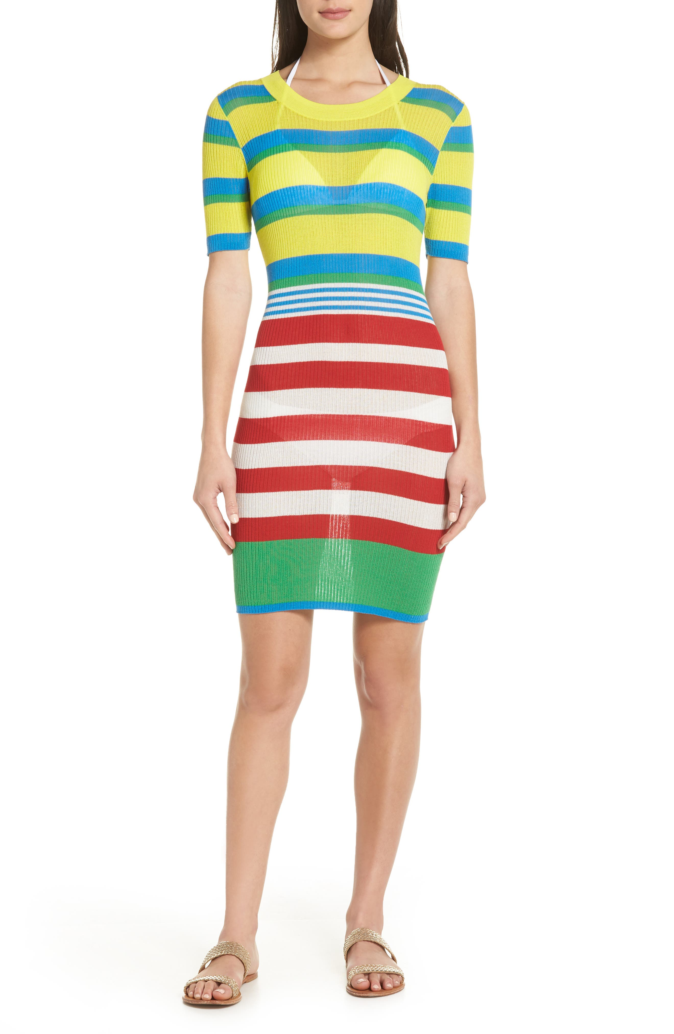 DVF Stripe Ribbed Cover-Up Sweater Dress,                             Main thumbnail 1, color,                             Cadmium Multi