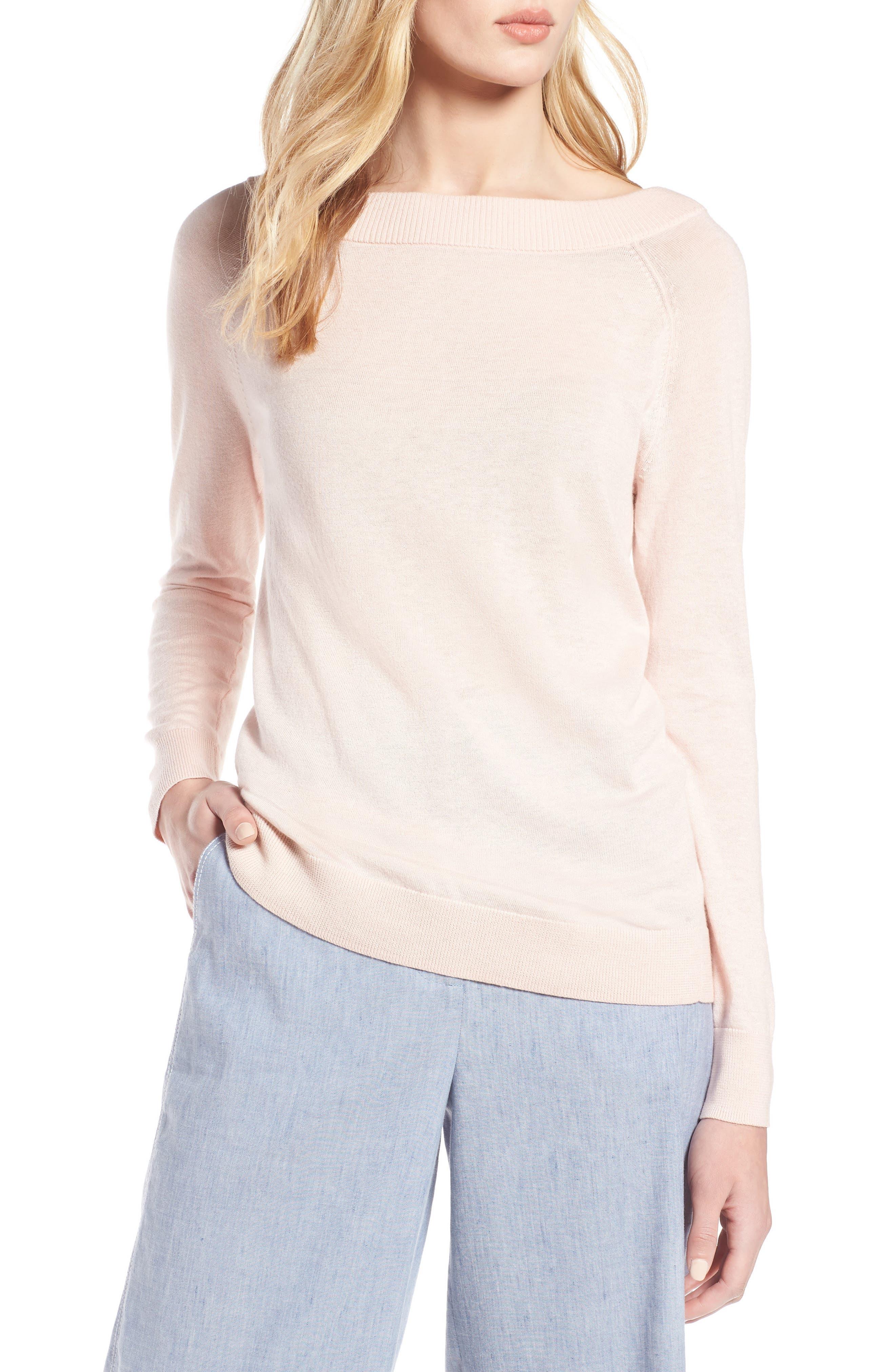 Convertible Bateau Neck Sweater,                             Main thumbnail 1, color,                             Pink Peach
