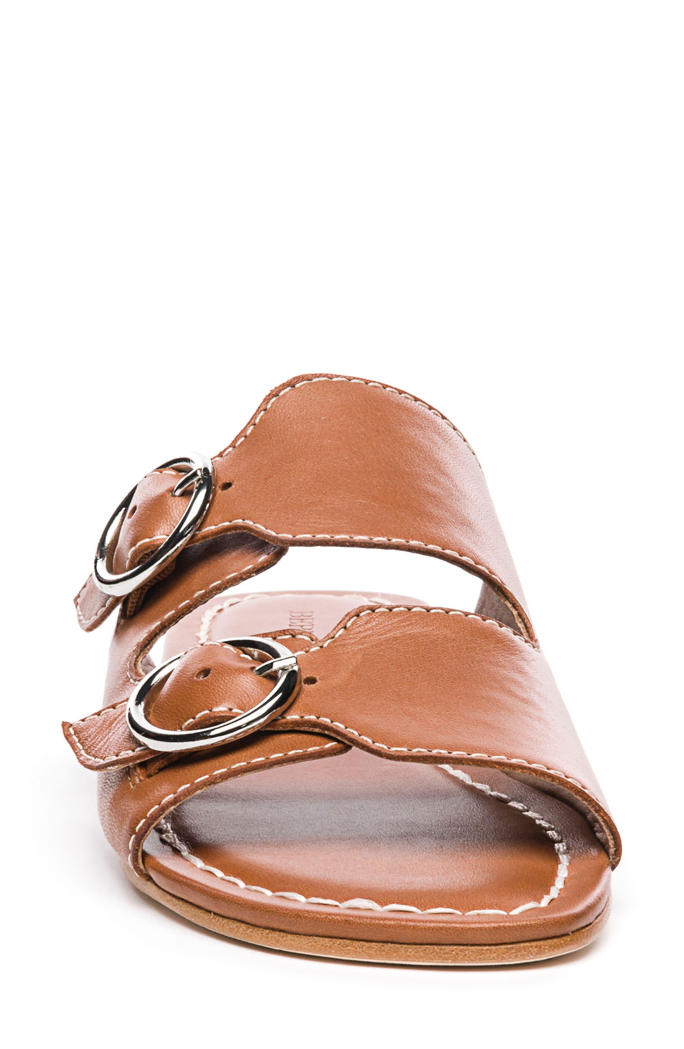 Bernardo Tobi Slide Sandal,                             Alternate thumbnail 4, color,                             Luggage Leather
