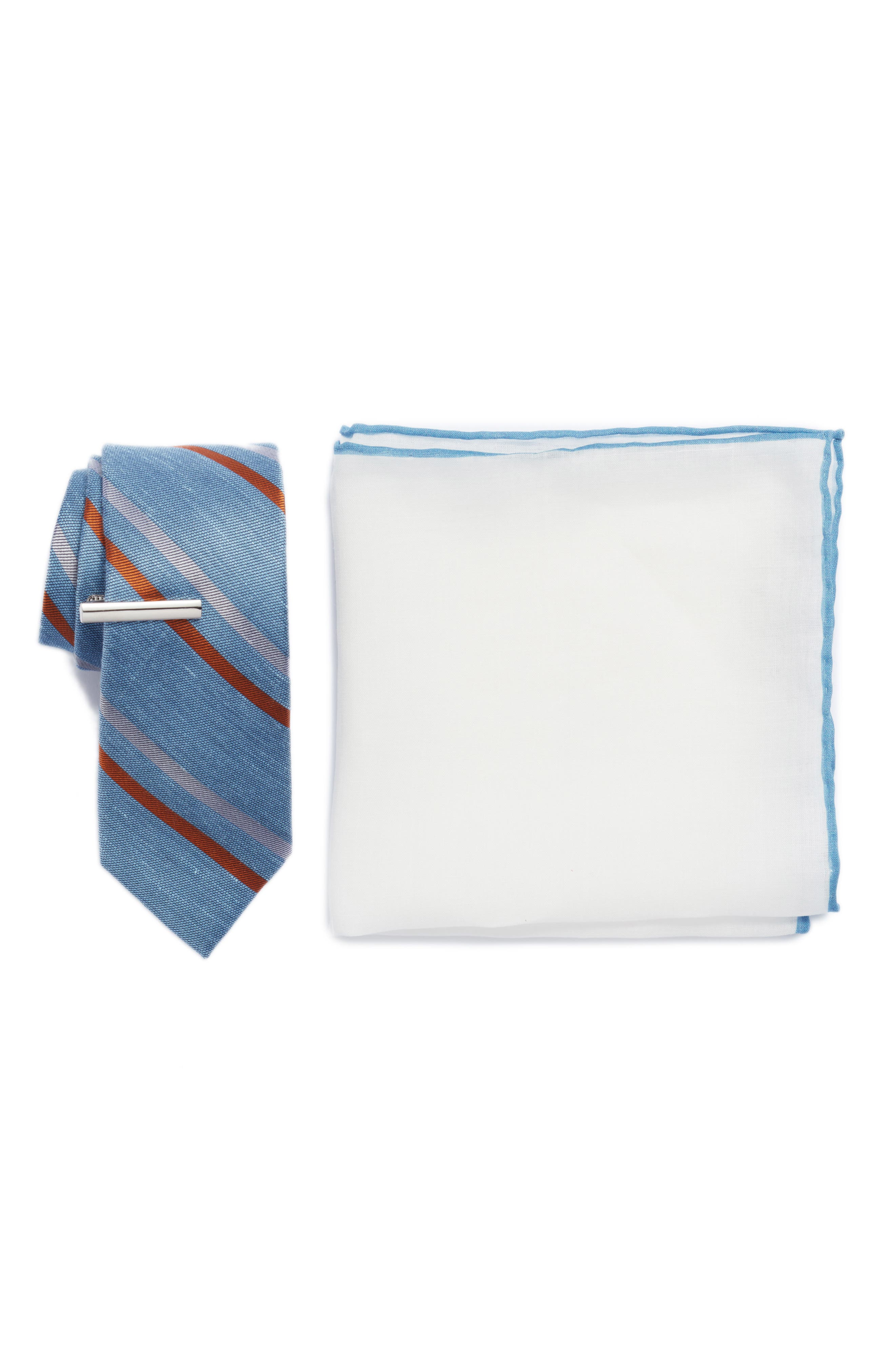 Pep Stripe 3-Piece Skinny Tie Style Box,                             Main thumbnail 1, color,                             Light Blue