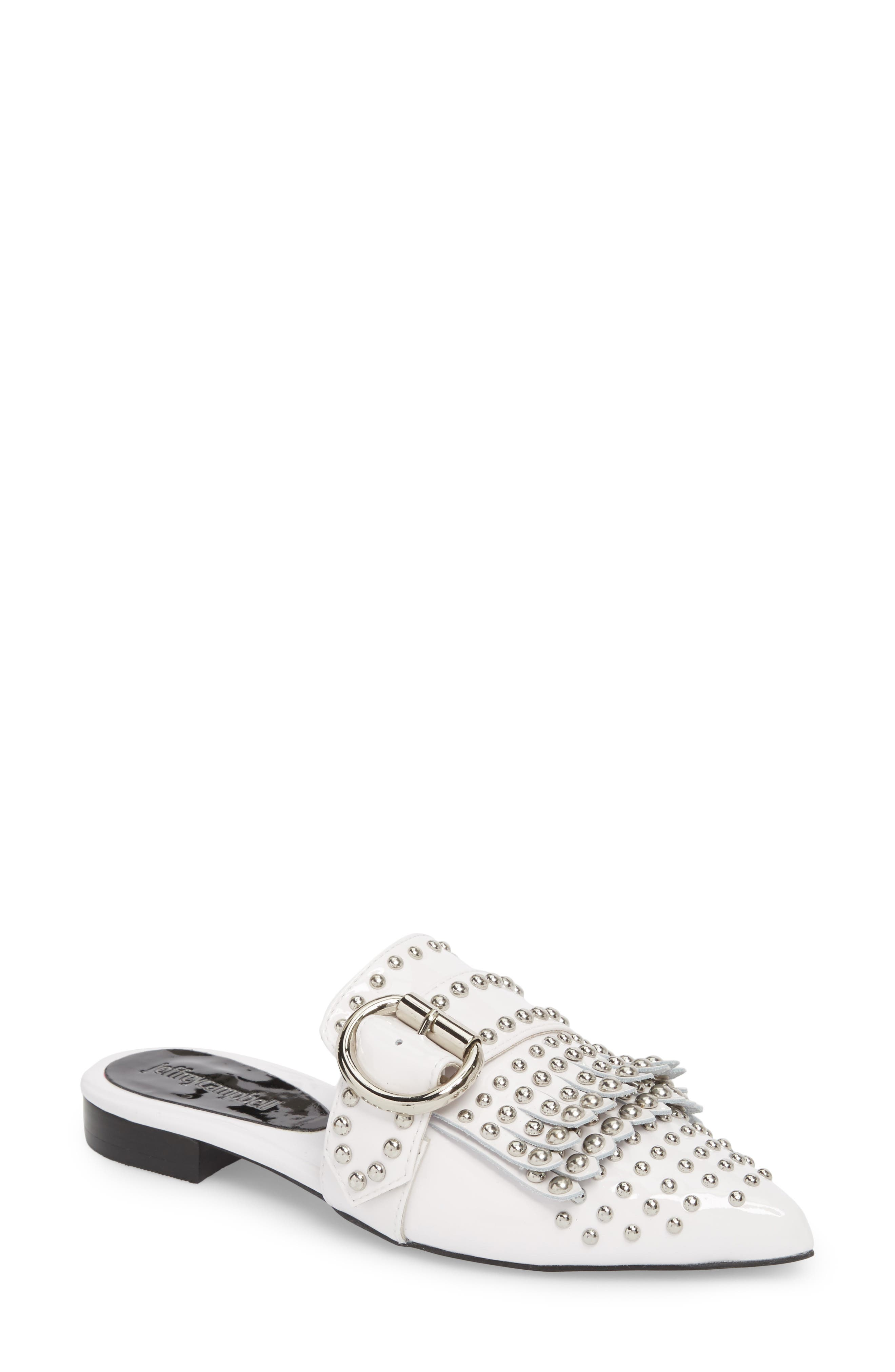 Daniel Studded Loafer Mule,                             Main thumbnail 1, color,                             White Patent