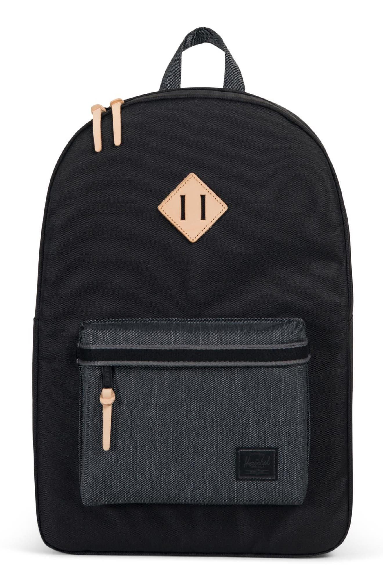 HERITAGE OFFSET DENIM BACKPACK - BLACK