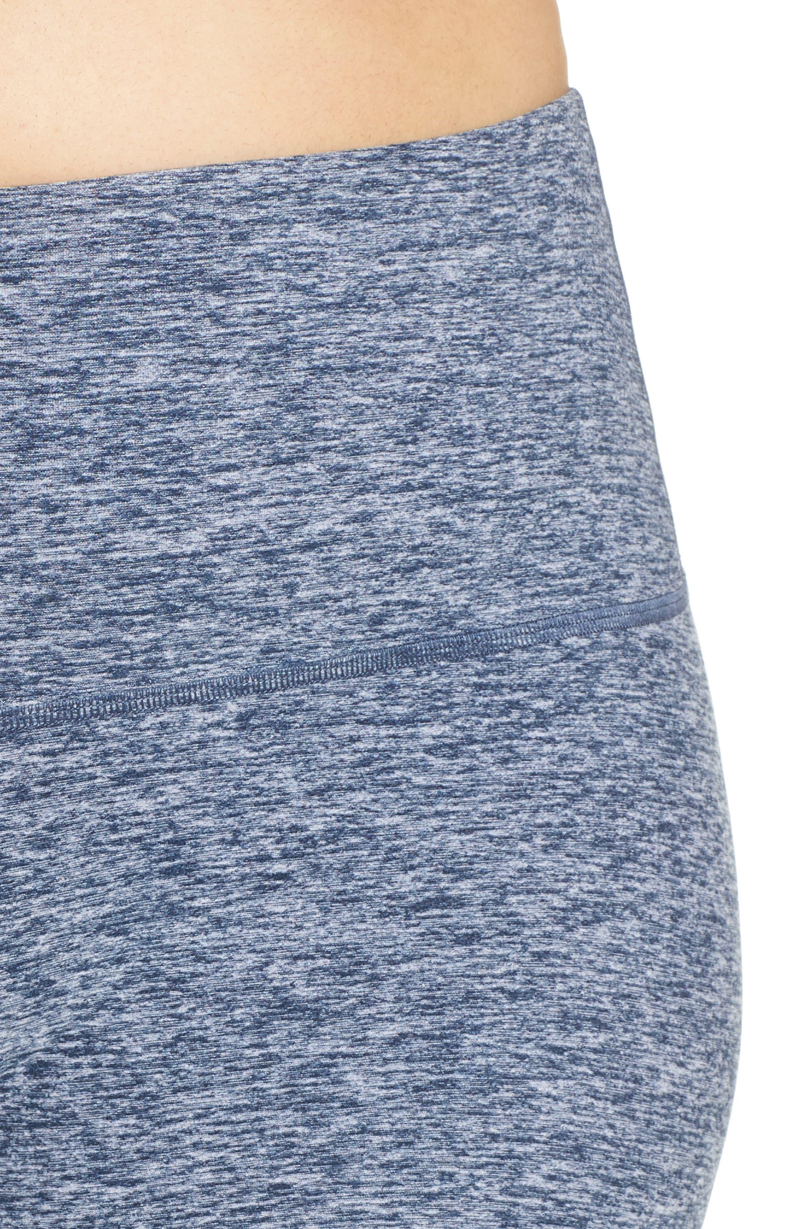 High Waist Midi Leggings,                             Alternate thumbnail 4, color,                             White/ Outlaw Navy