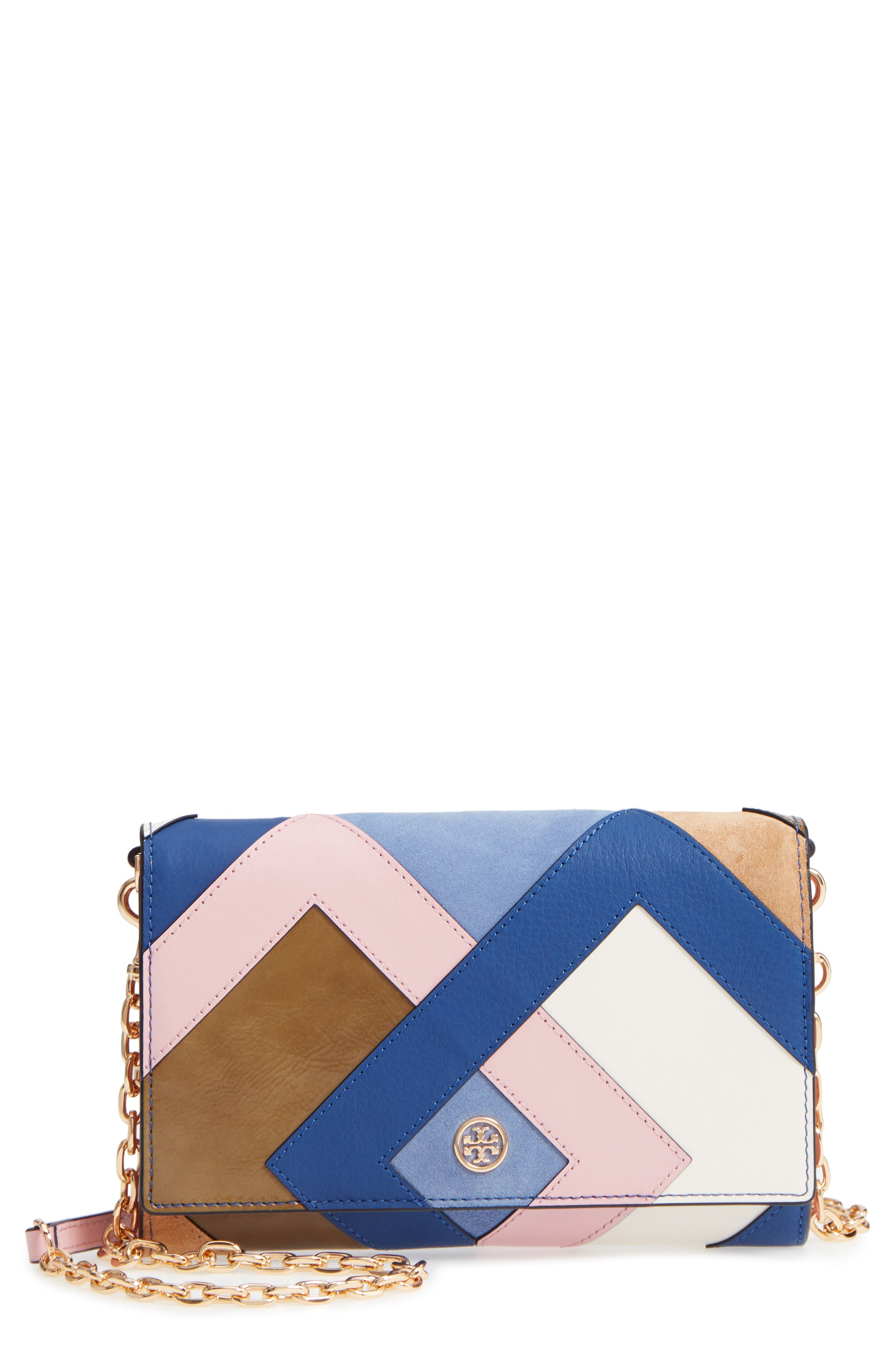 Robinson Colorblock Leather Wallet on a Chain,                             Main thumbnail 1, color,                             Multi