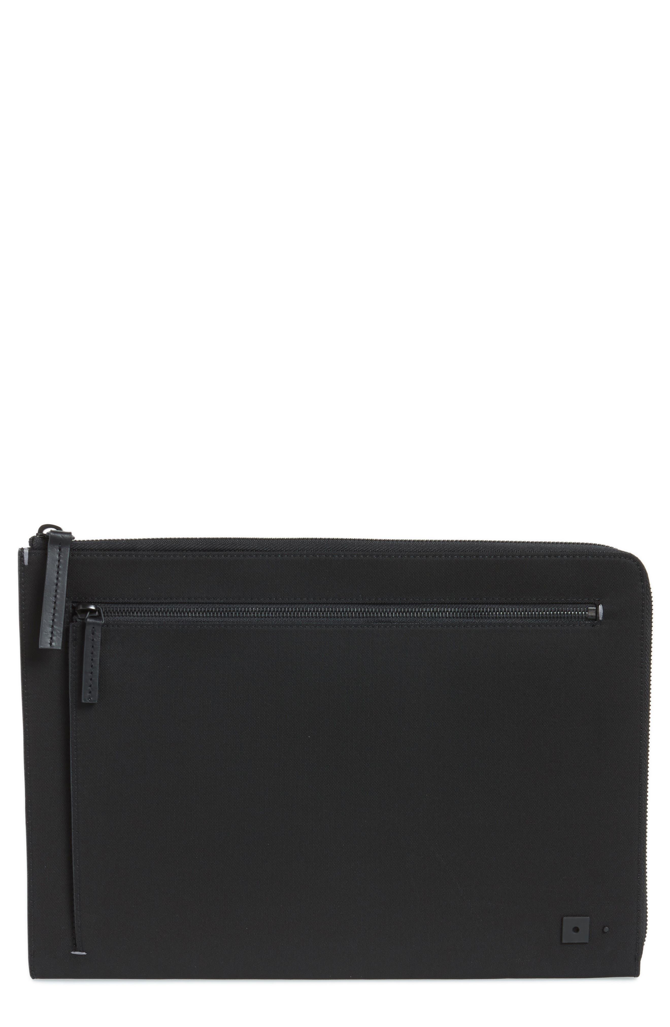 Portfolio Case,                         Main,                         color, Black Nylon/ Black Leather