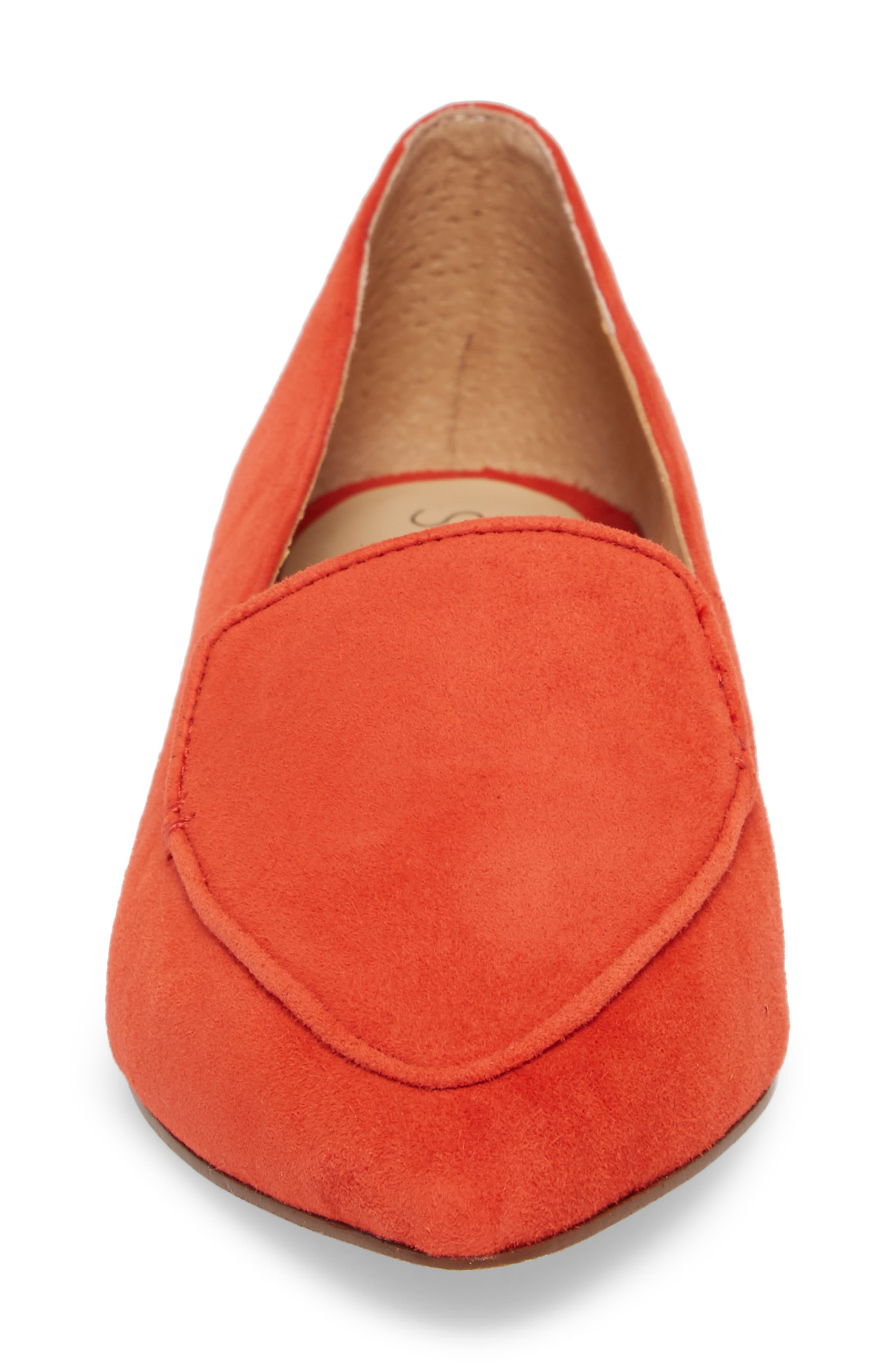 'Cammila' Pointy Toe Loafer,                             Alternate thumbnail 4, color,                             Deep Coral