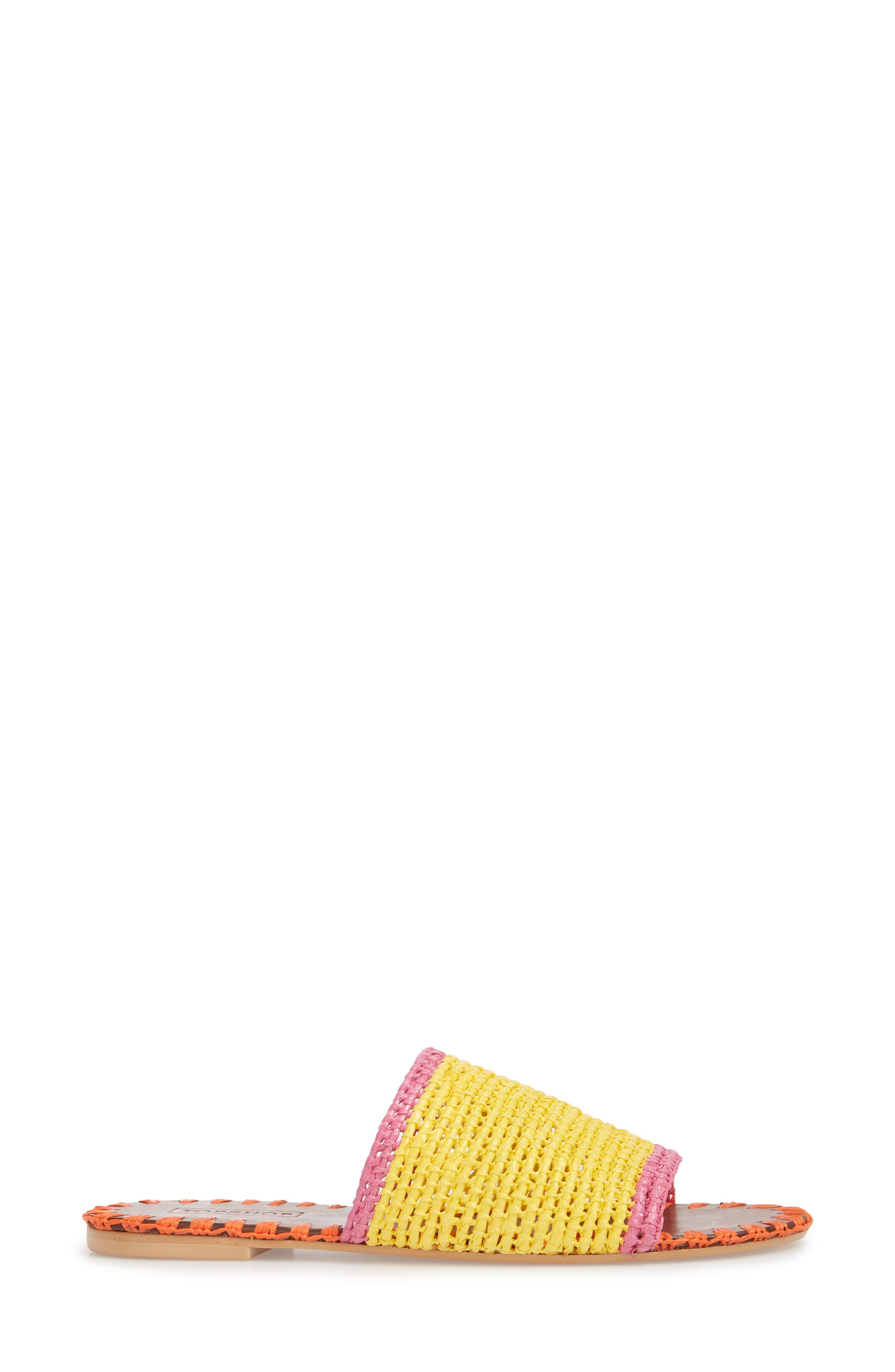 Fresh Woven Slide Sandal,                             Alternate thumbnail 3, color,                             Yellow Multi
