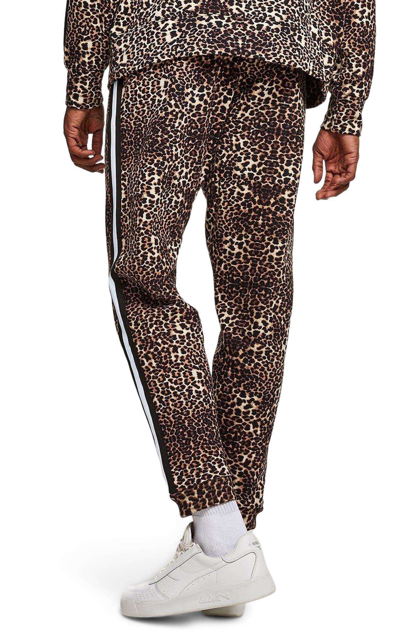 Leopard Print Tape Jogger Pants,                             Alternate thumbnail 2, color,                             Brown Multi