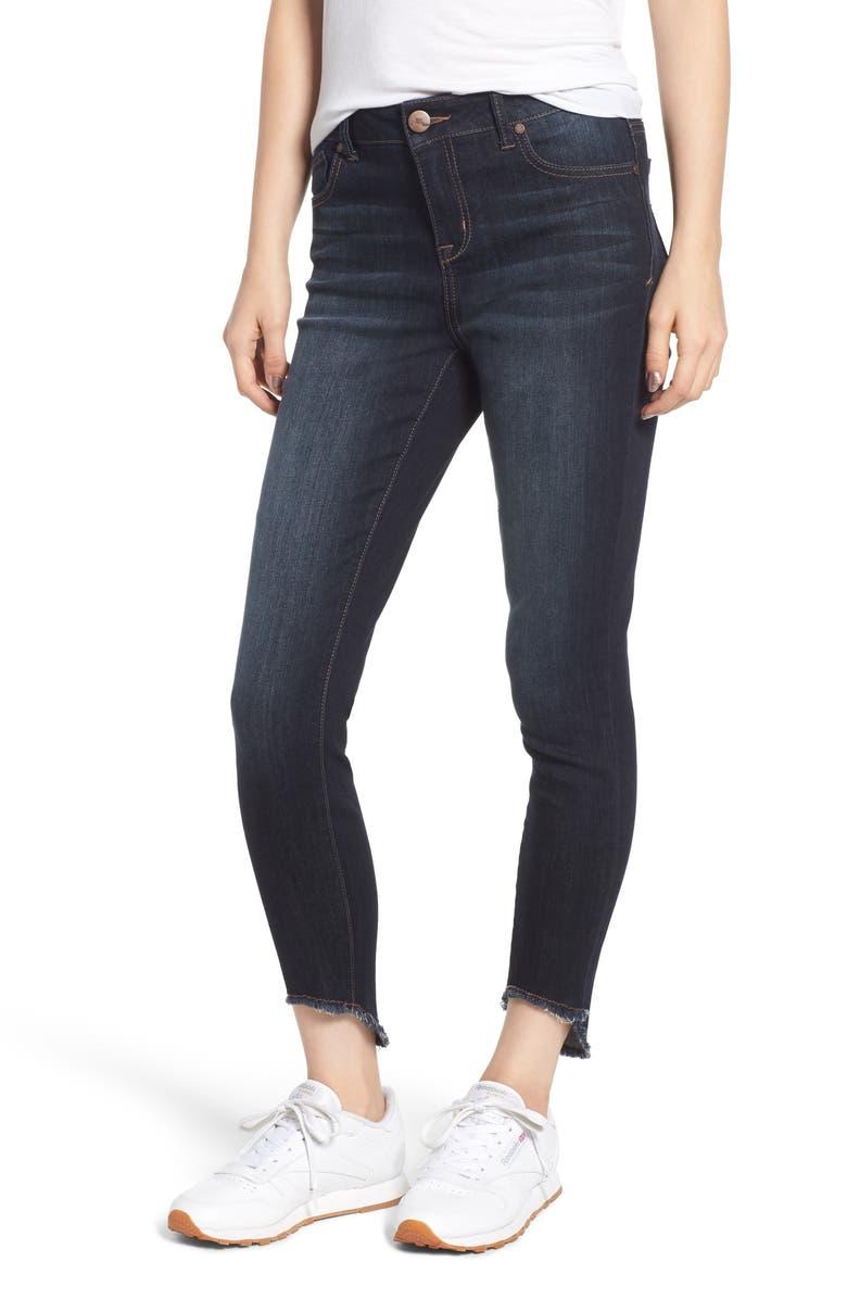 Frayed Curve Hem Skinny Jeans