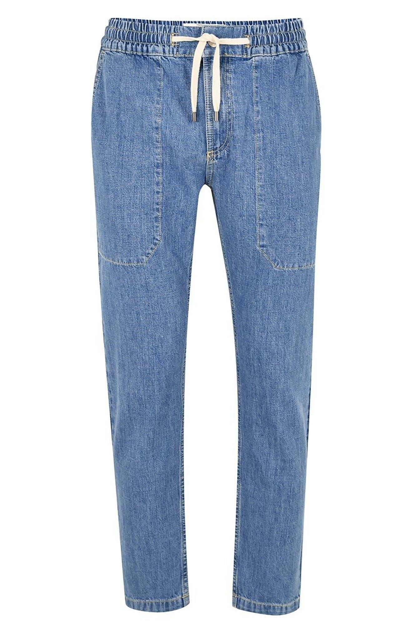Tapered Fit Denim Jogger Pants,                             Alternate thumbnail 4, color,                             Blue