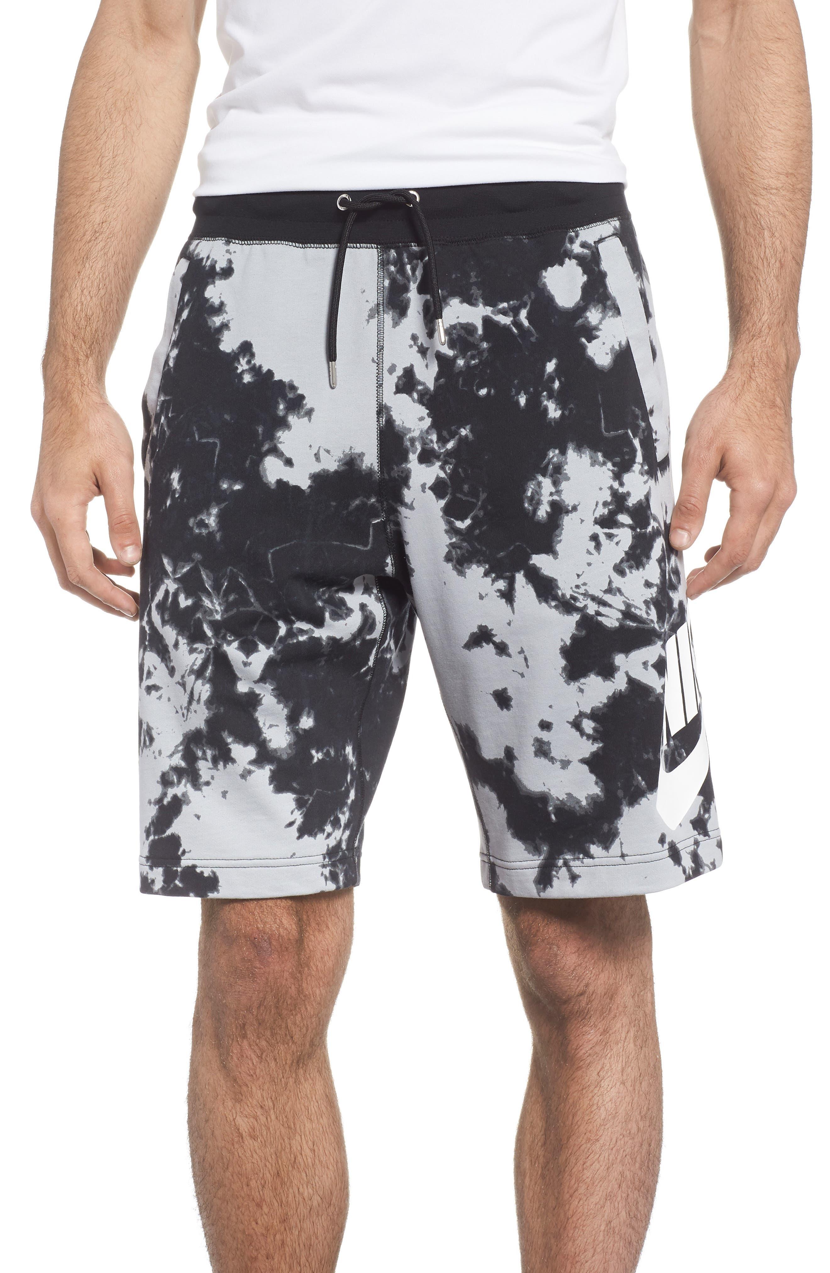 NSW Alumni Tie-Dye Shorts,                         Main,                         color, Wolf Grey/ Black/ White