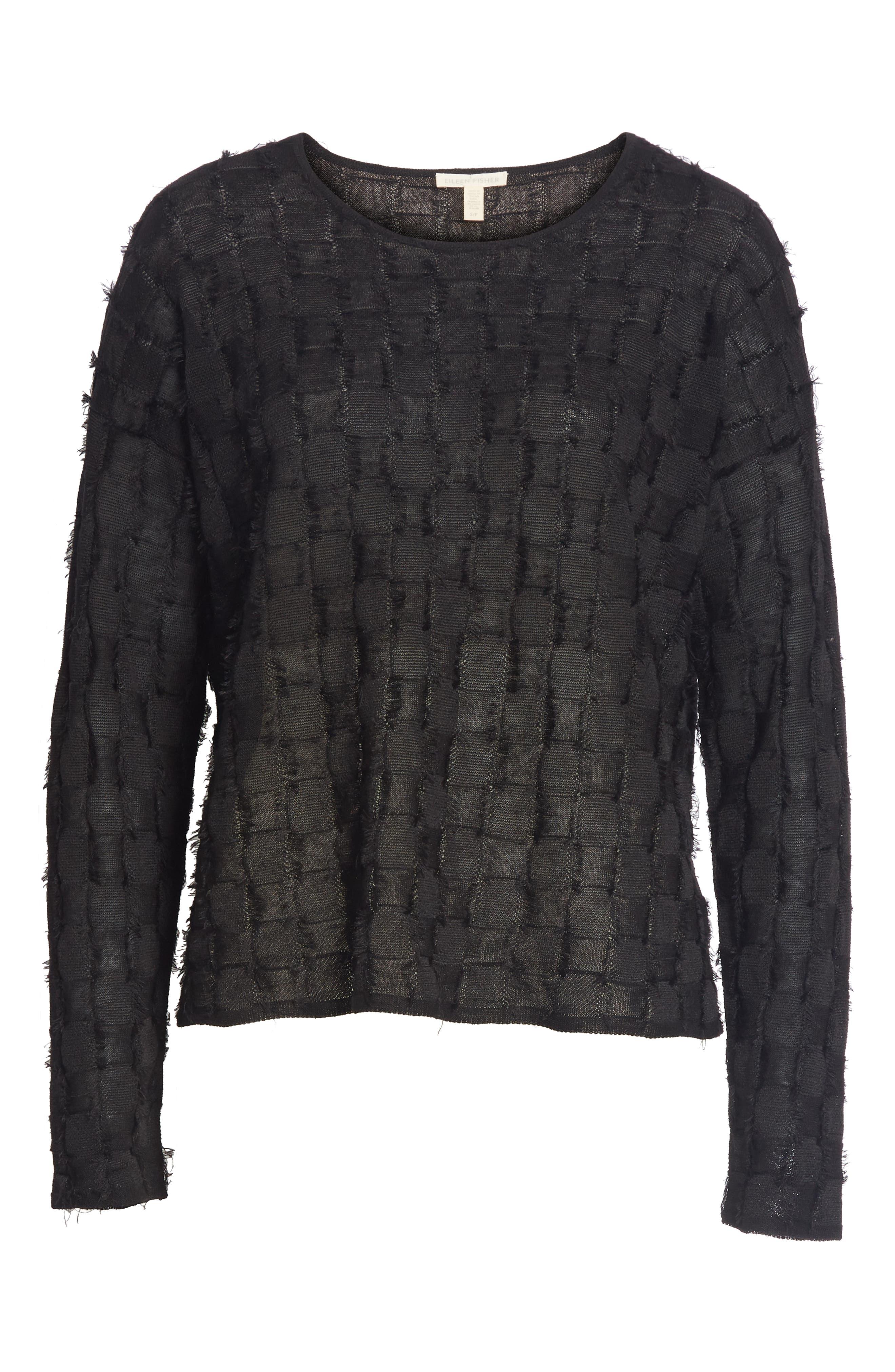 Fringe Knit Sweater,                             Alternate thumbnail 6, color,                             Black