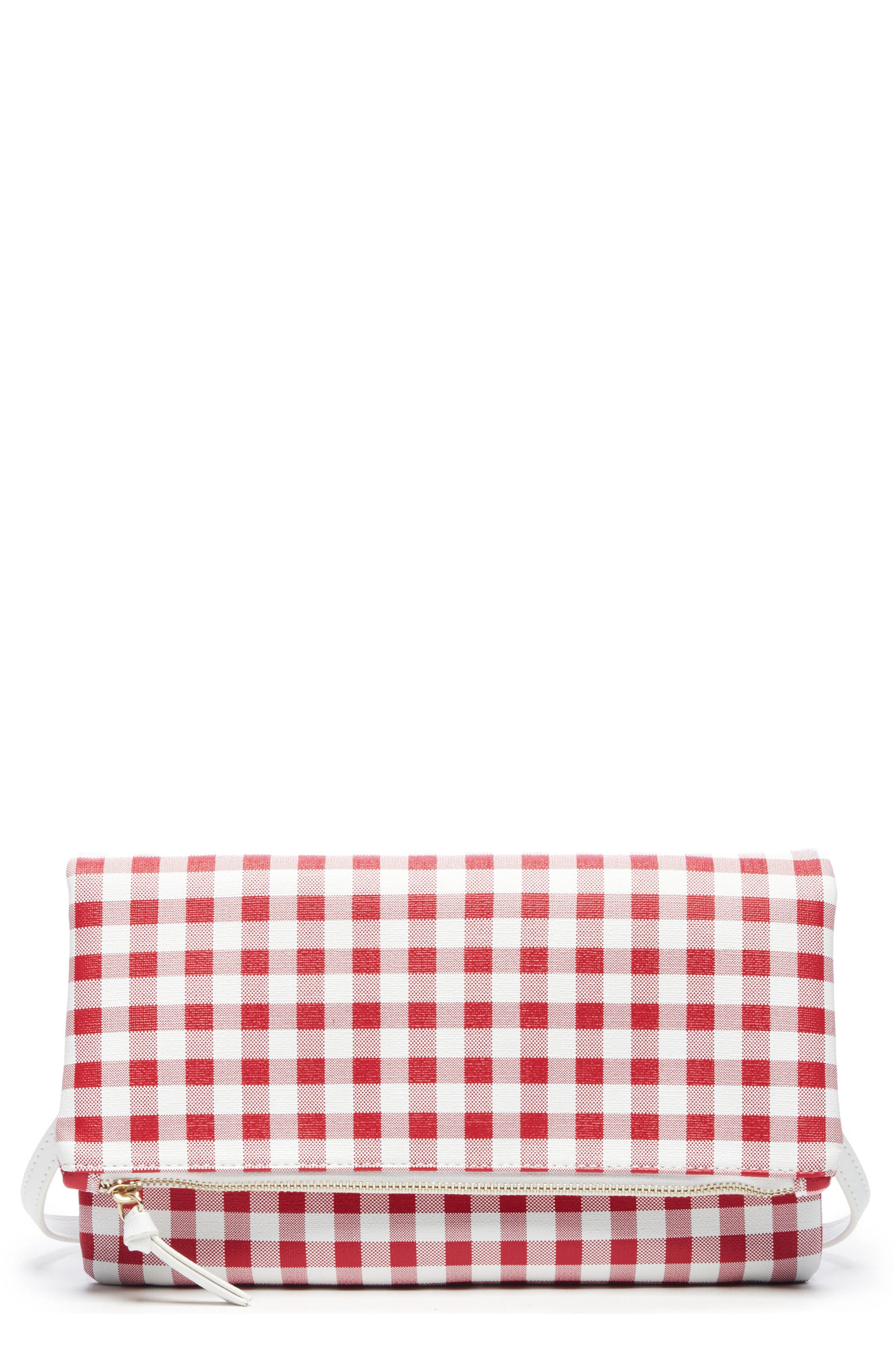 Faux Leather Foldover Clutch,                             Main thumbnail 1, color,                             Red/ White
