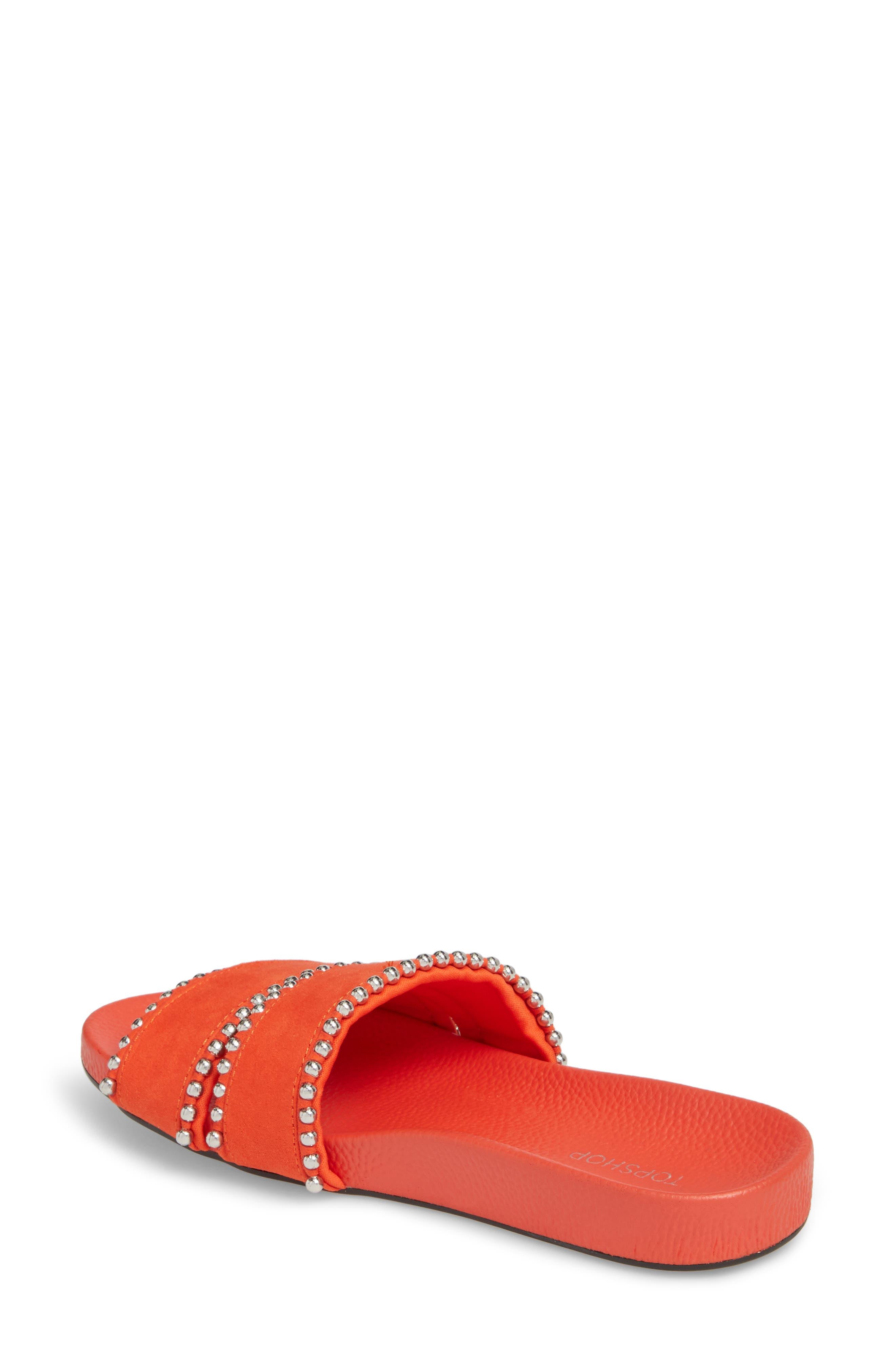 Rascal Studded Slide Sandal,                             Alternate thumbnail 2, color,                             Red