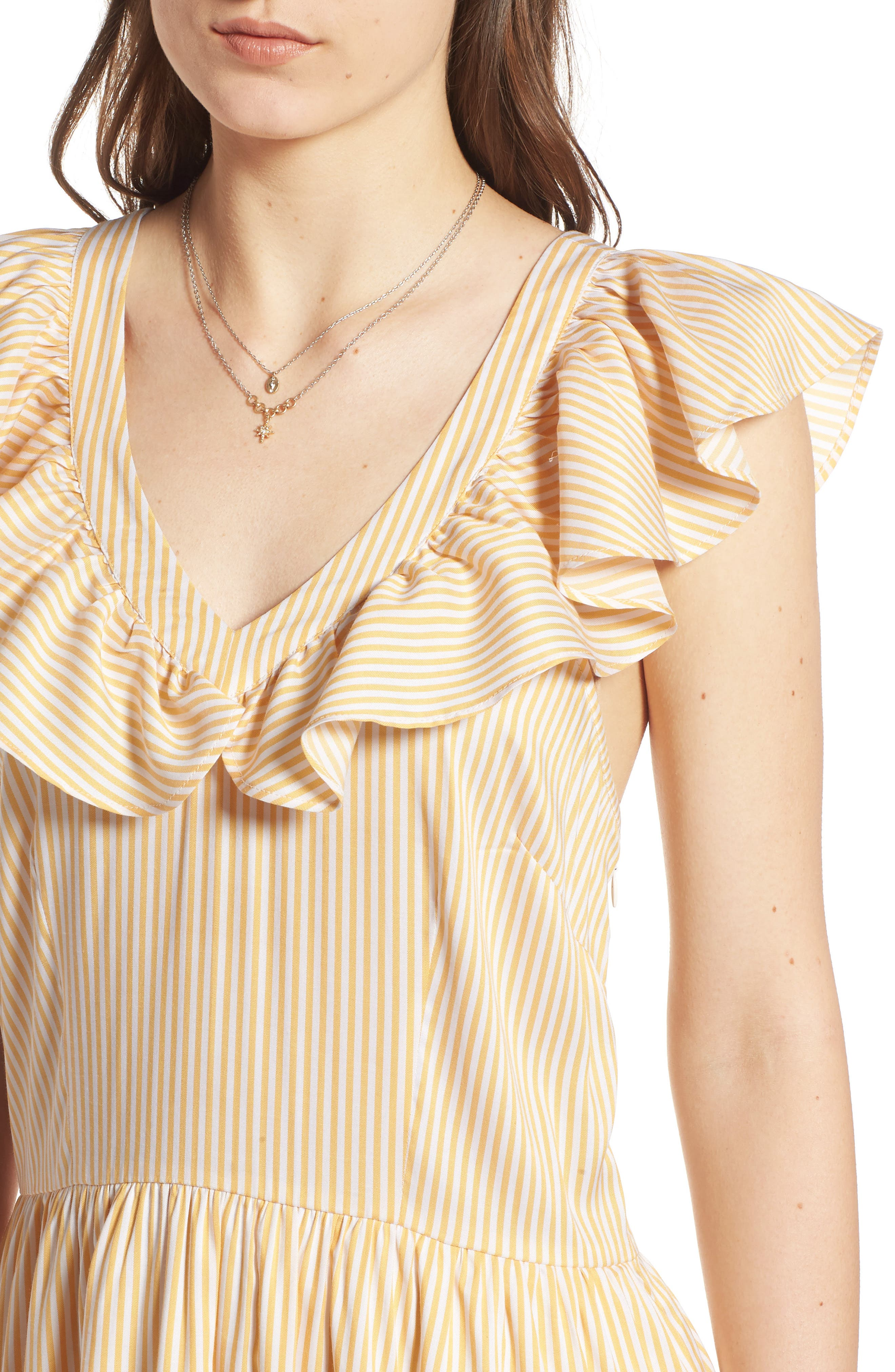Ruffle Dress,                             Alternate thumbnail 4, color,                             Yellow Gleam Stratus Stripe