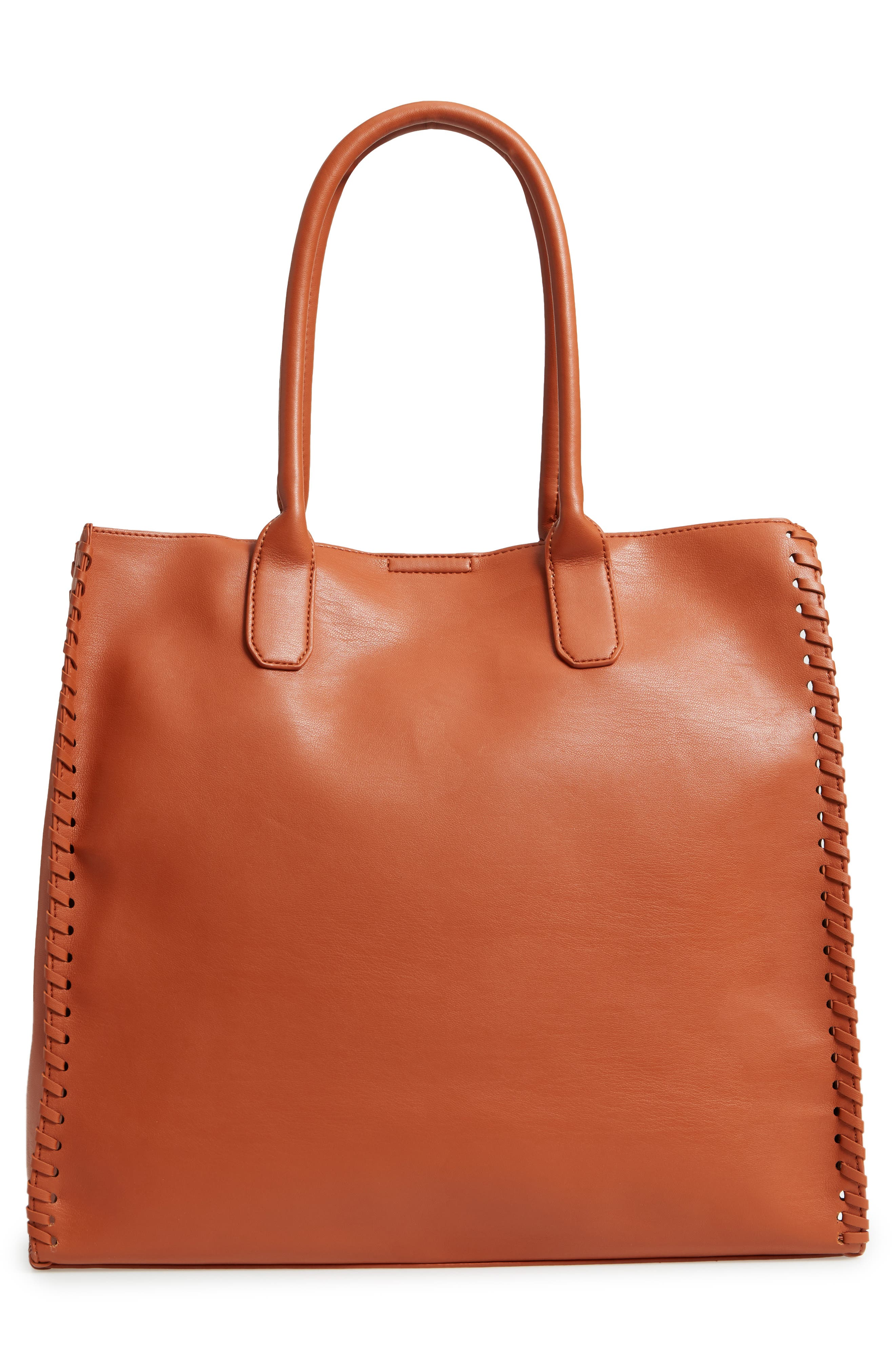 Cadence Faux Leather Whipstitch Tote,                             Alternate thumbnail 3, color,                             Cognac