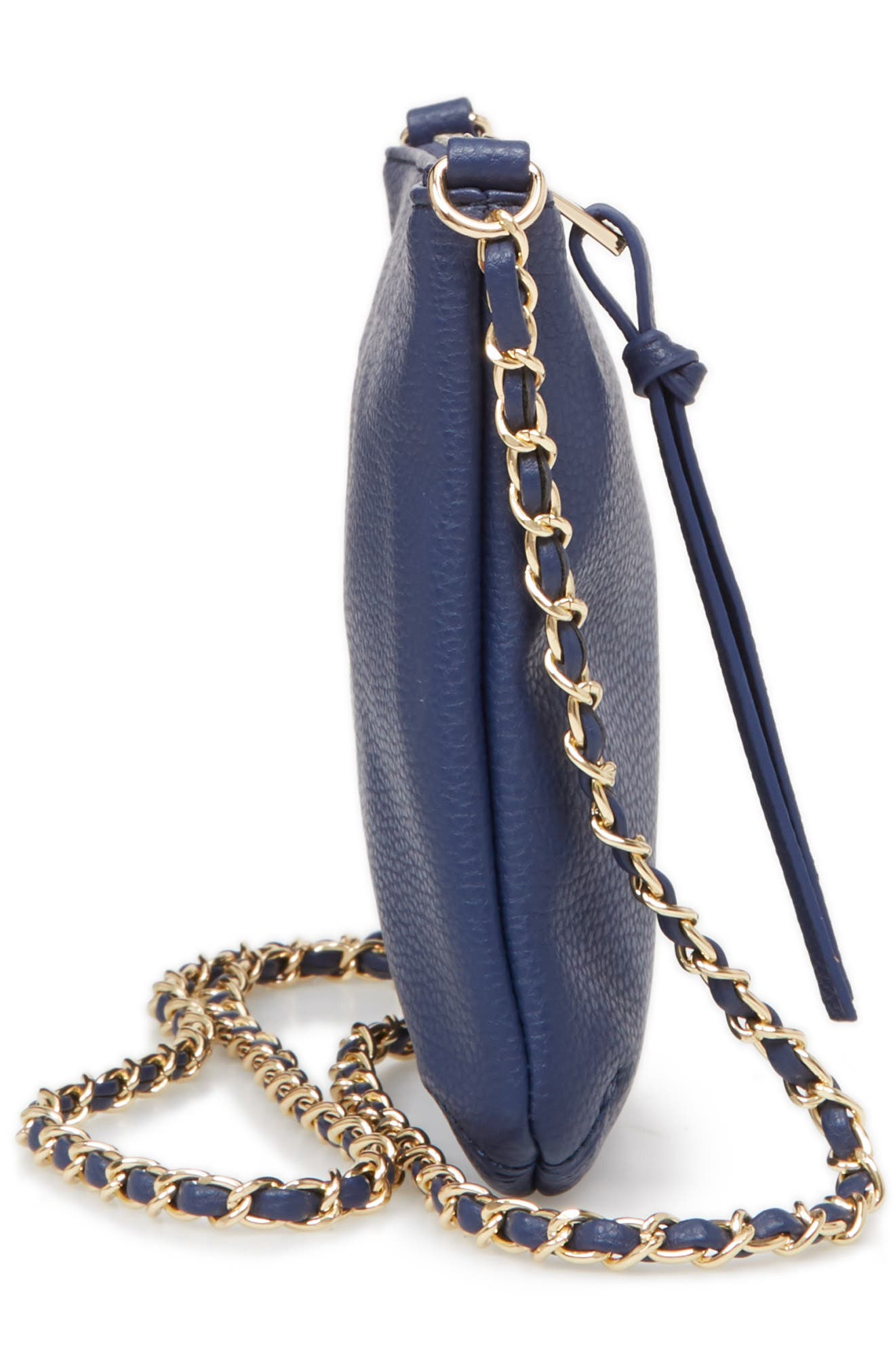 Faux Leather Crossbody Bag,                             Alternate thumbnail 5, color,                             Indigo