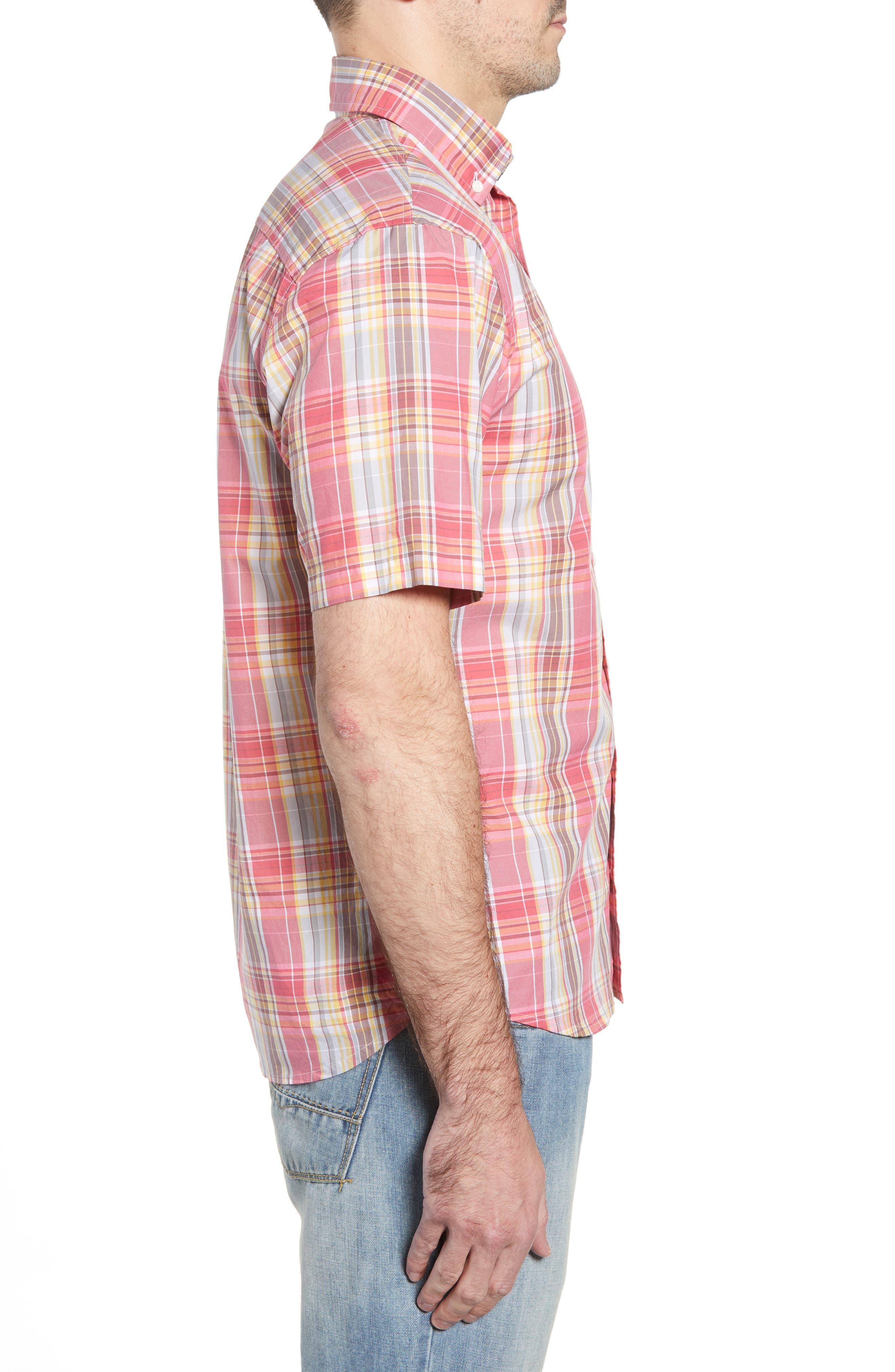 Glenn Classic Fit Plaid Sport Shirt,                             Alternate thumbnail 5, color,                             Calypso