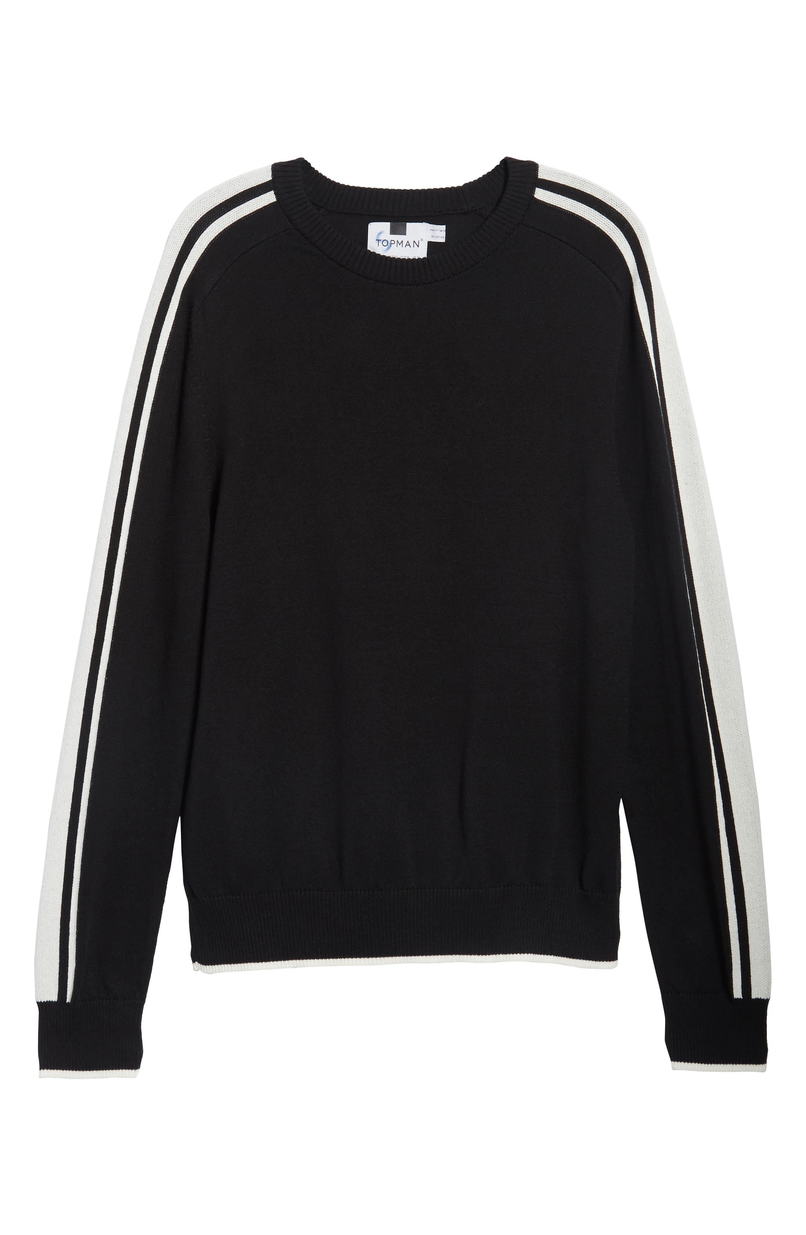 Stripe Sleeve Sweater,                             Alternate thumbnail 6, color,                             Black