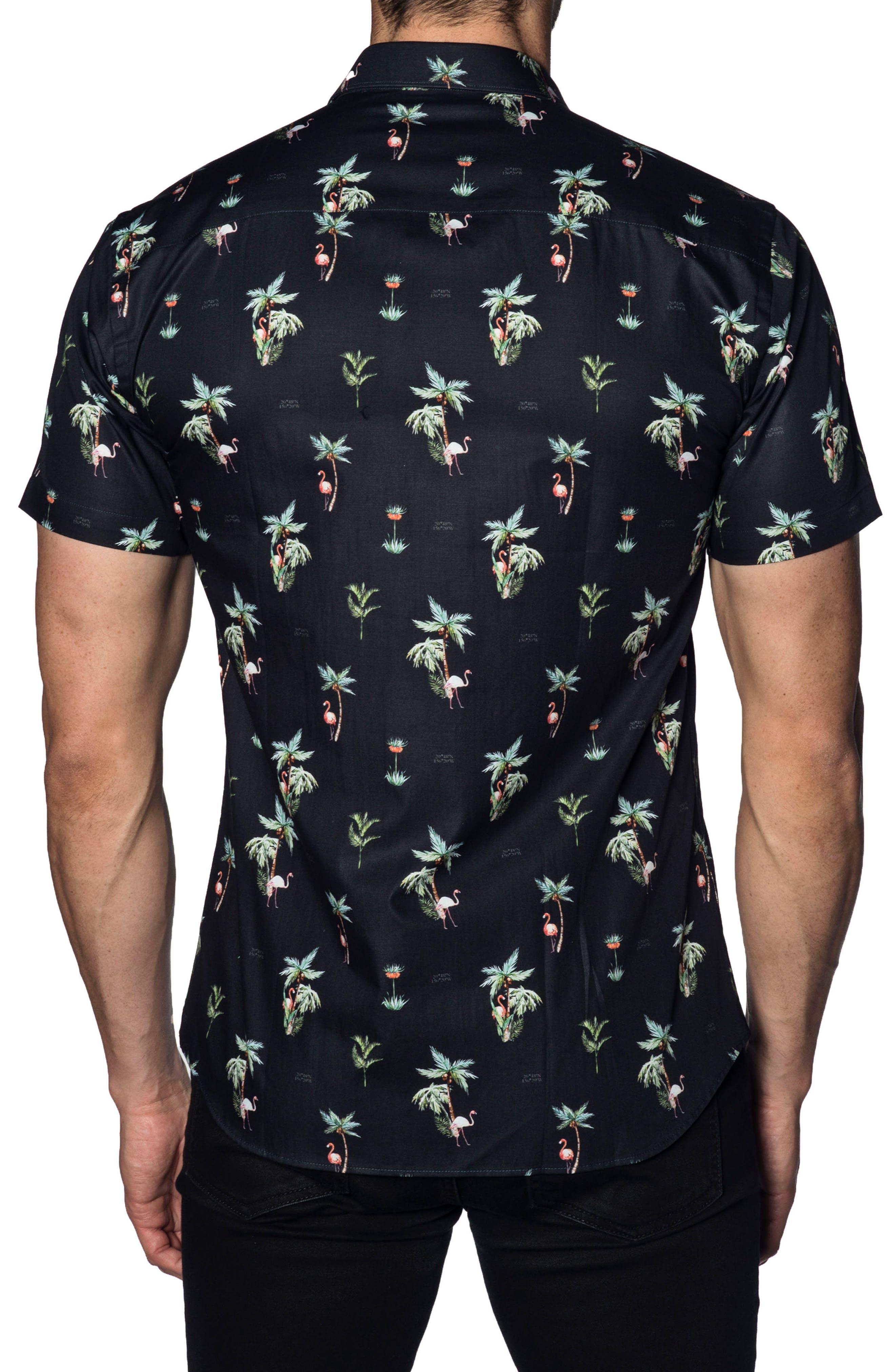 Trim Fit Sport Shirt,                             Alternate thumbnail 2, color,                             Navy Flamingos