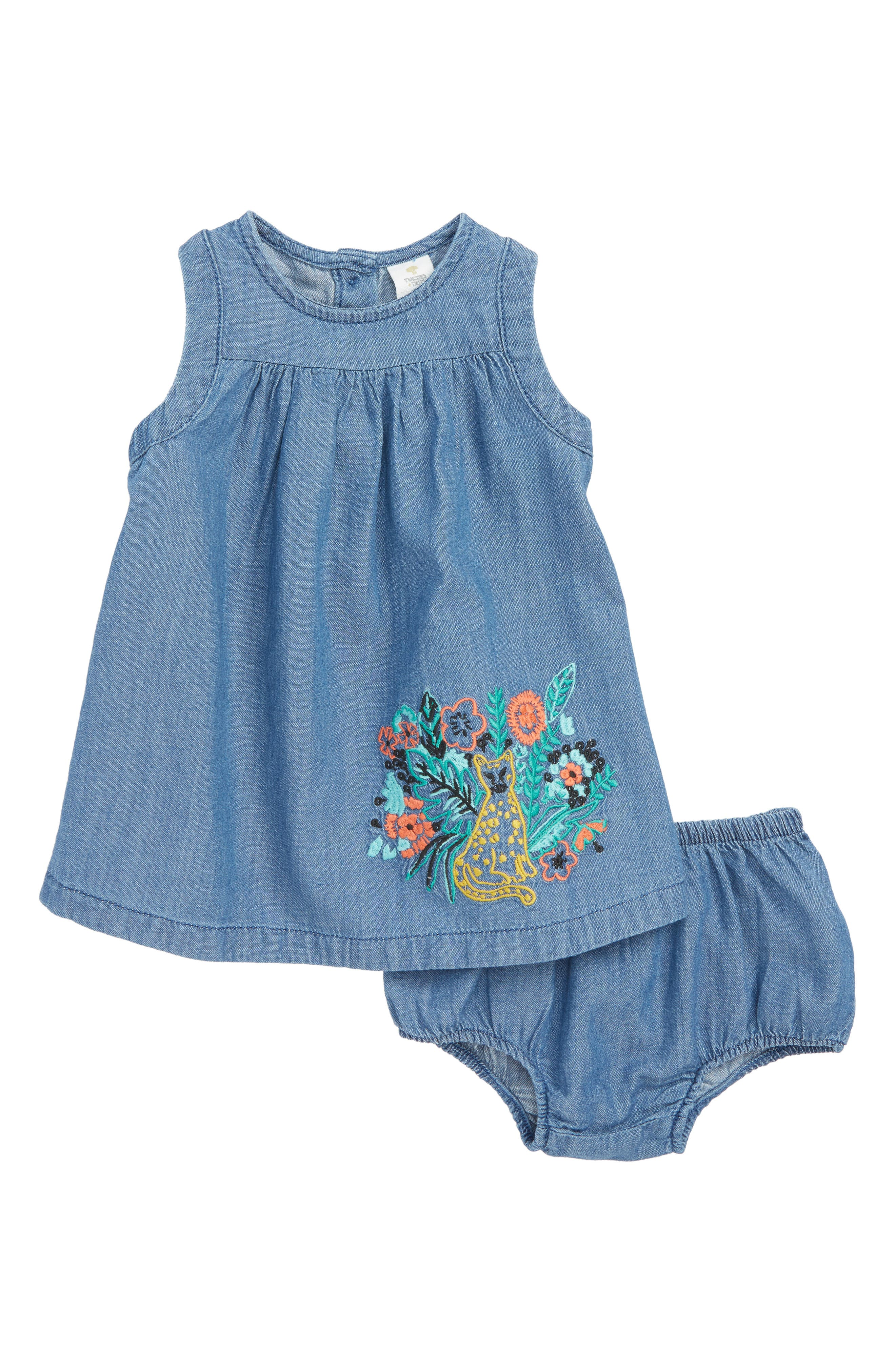 Embroidered Chambray Dress,                         Main,                         color, Blue Wash Jungle Cat
