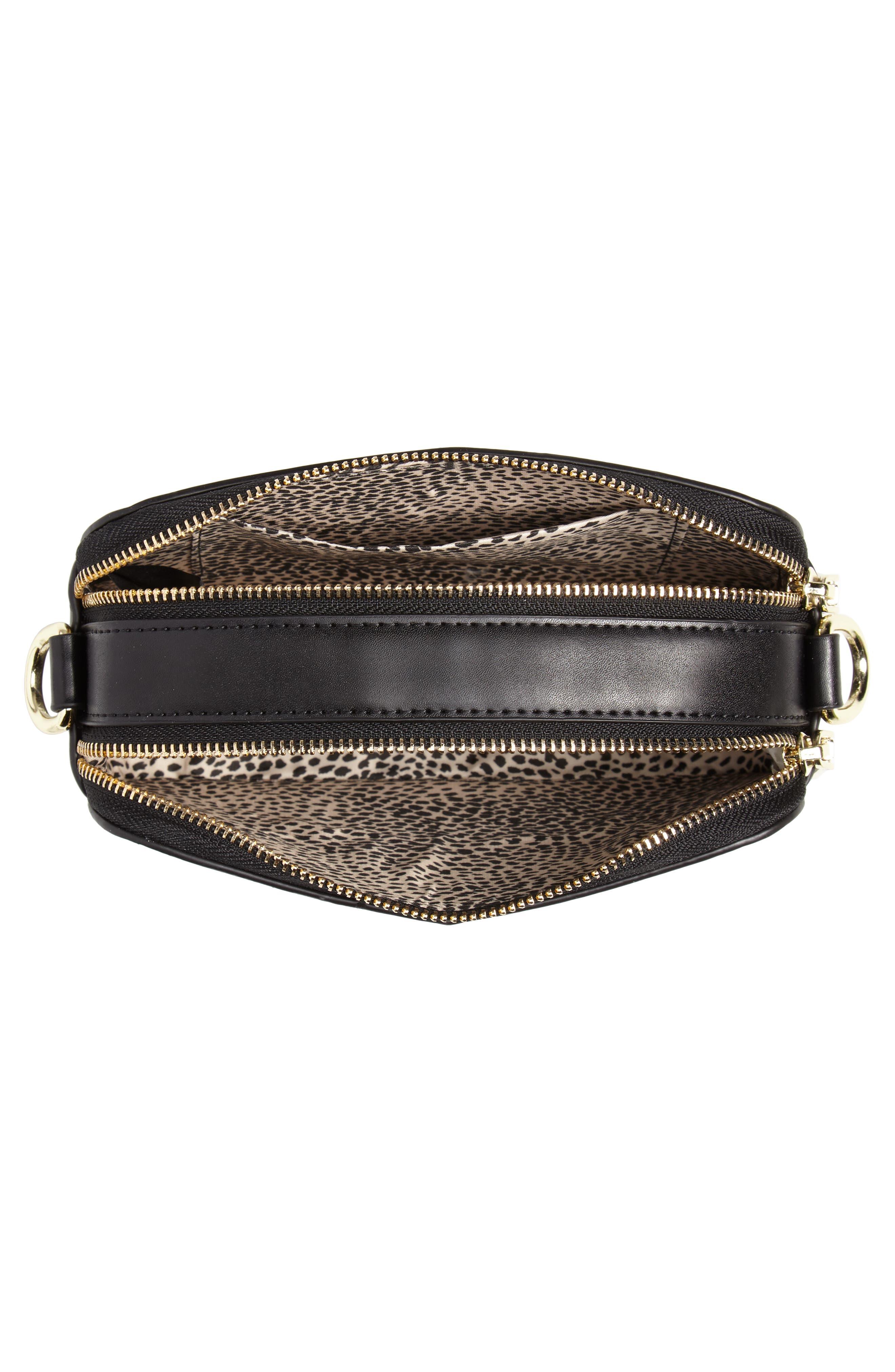 Dyana Grommet Faux Leather Crossbody Bag,                             Alternate thumbnail 5, color,                             Black