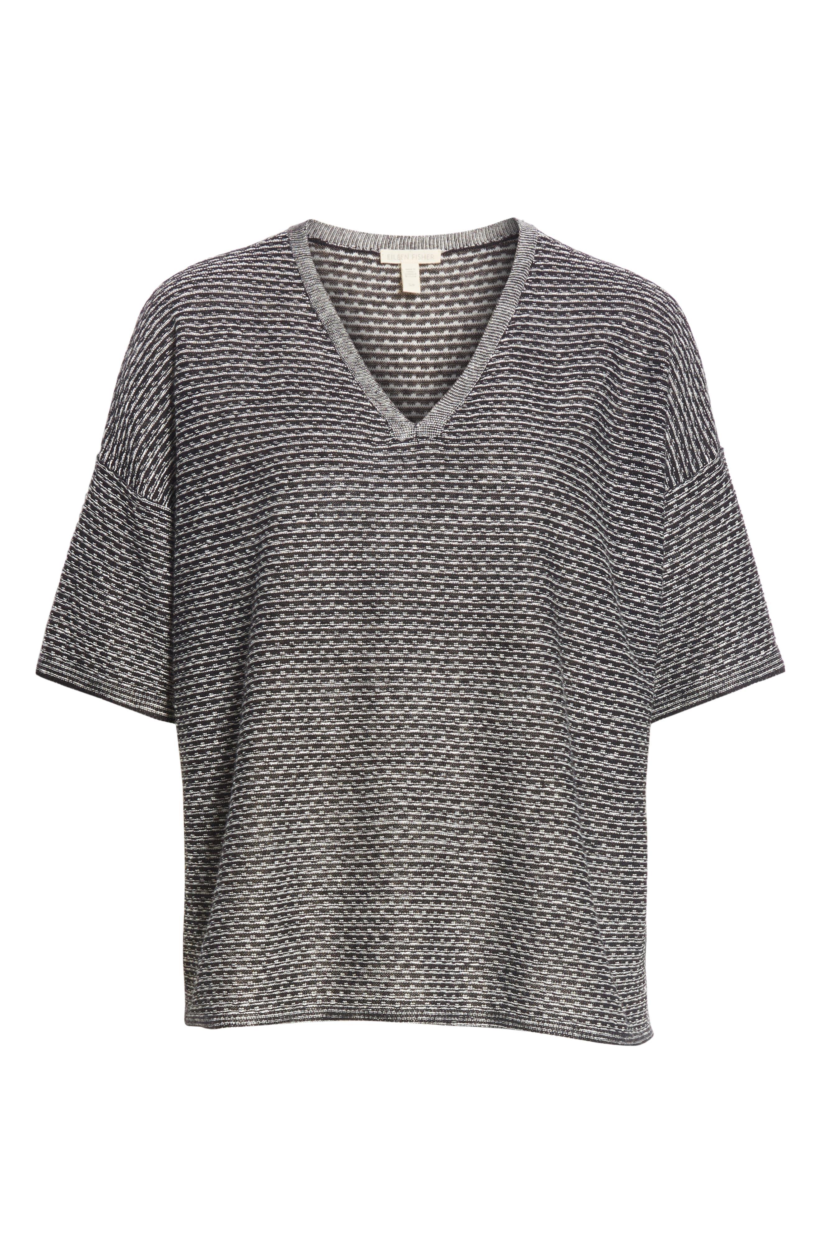 Organic Linen Jacquard Sweater,                             Alternate thumbnail 6, color,                             Black/ Soft White