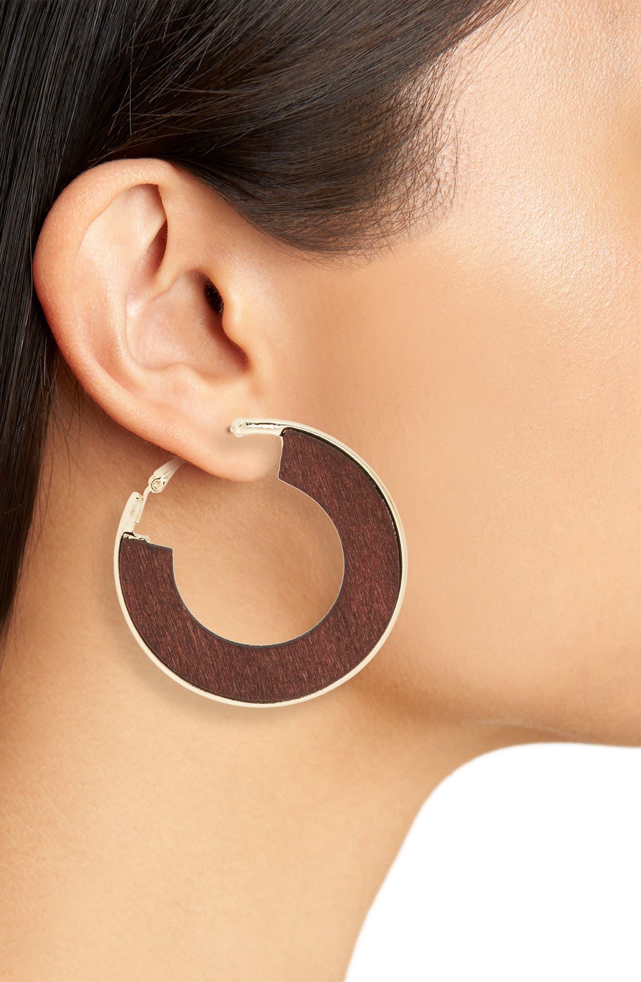 Flat Wood Hoop Earrings,                             Alternate thumbnail 2, color,                             Gold/ Brown