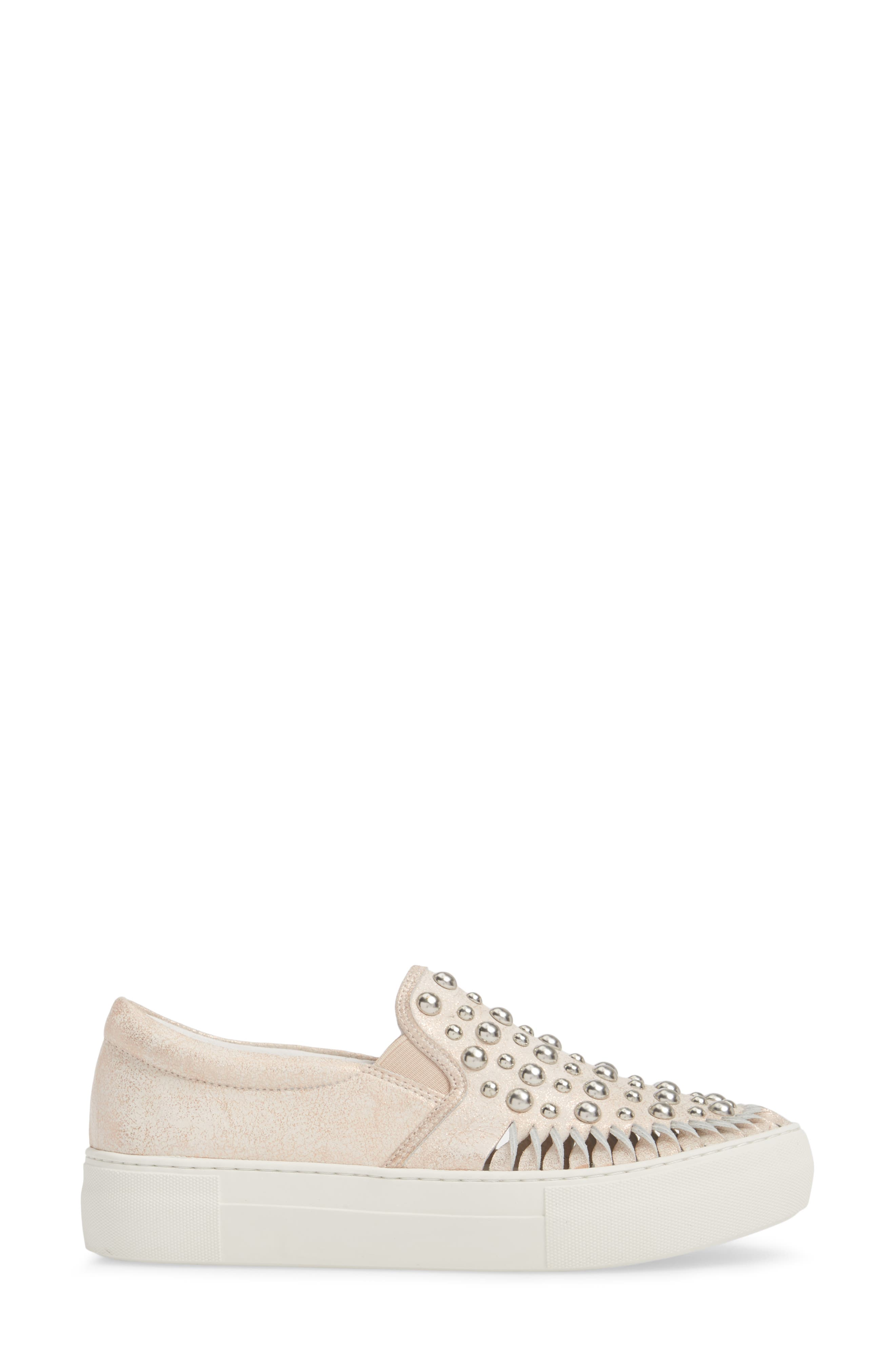 AZT Studded Slip-On Sneaker,                             Alternate thumbnail 3, color,                             Soft Pink Metallic Leather