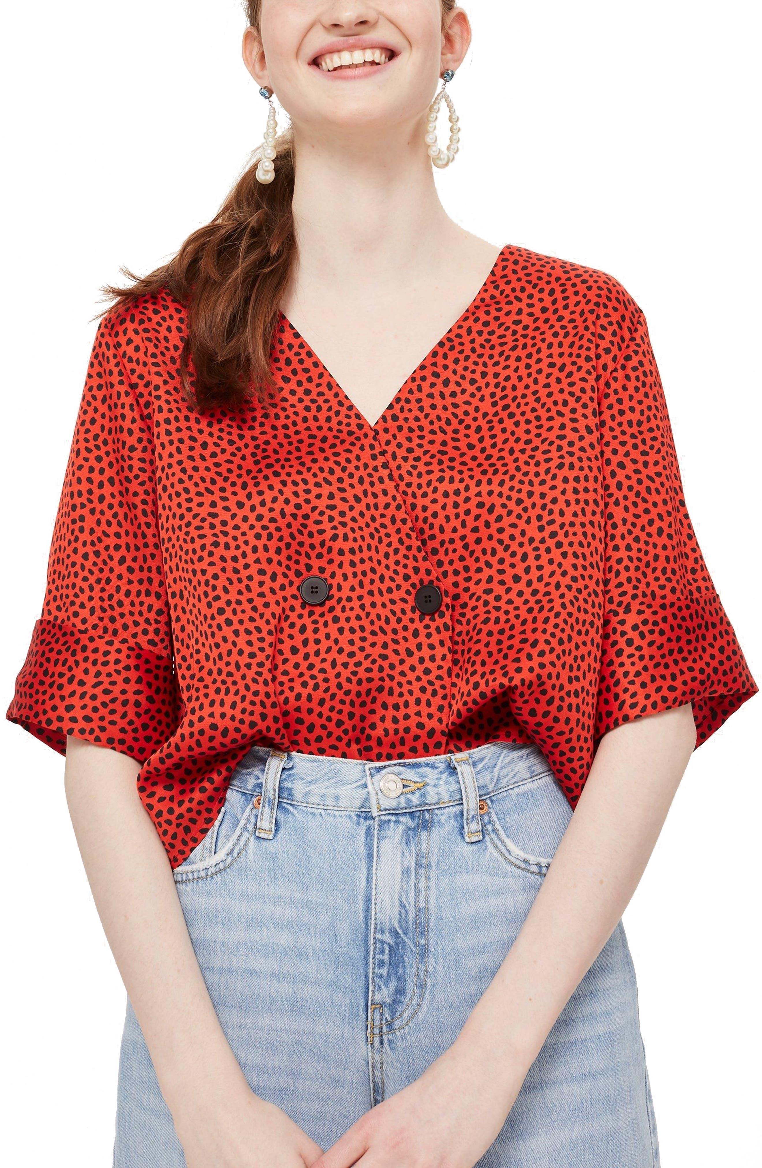Animal Print Top,                         Main,                         color, Red Multi
