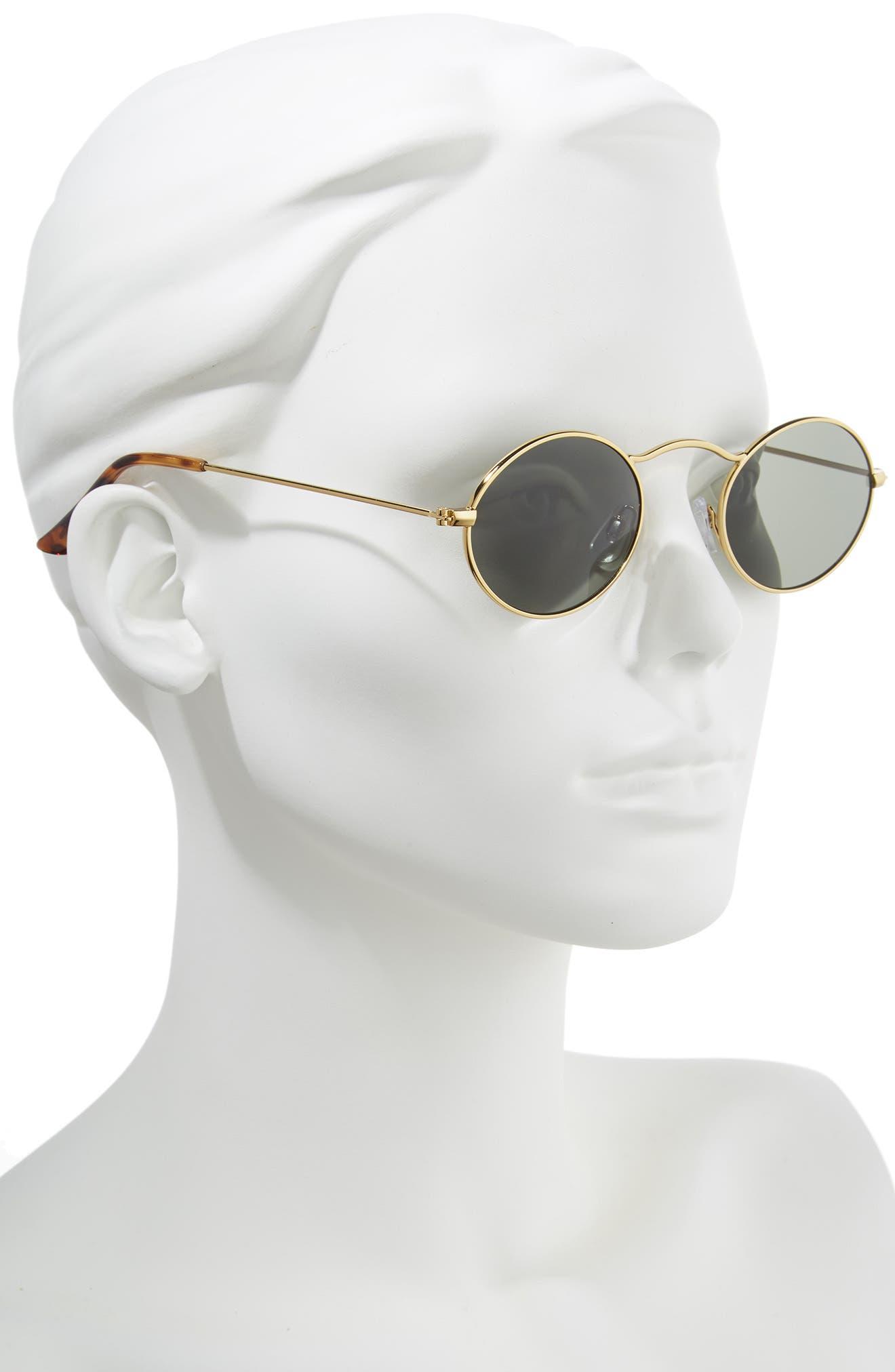 48mm Small Oval Sunglasses,                             Alternate thumbnail 2, color,                             Gold/ Black