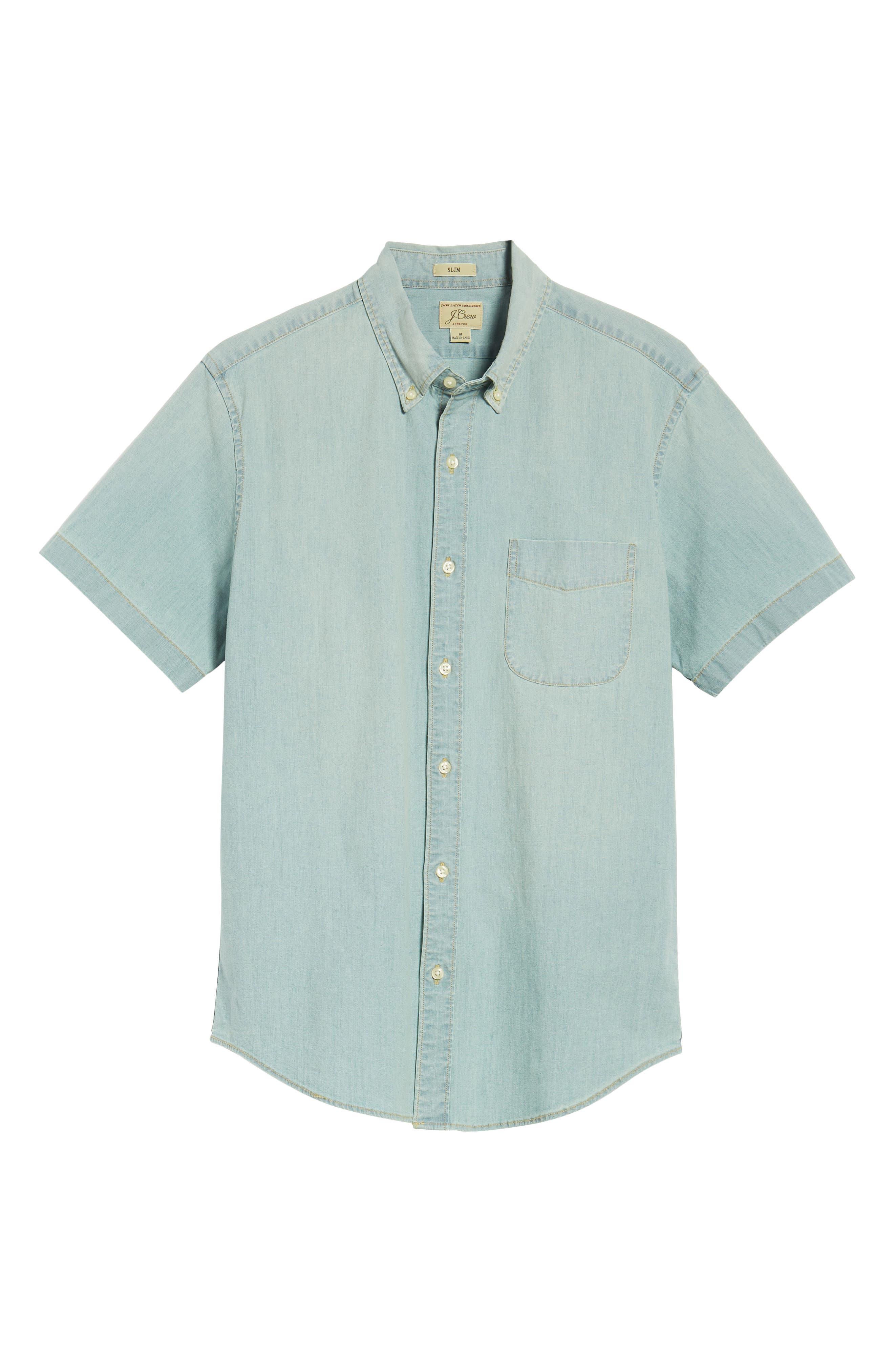 Slim Fit Stretch Chambray Shirt,                             Alternate thumbnail 6, color,                             Indigo