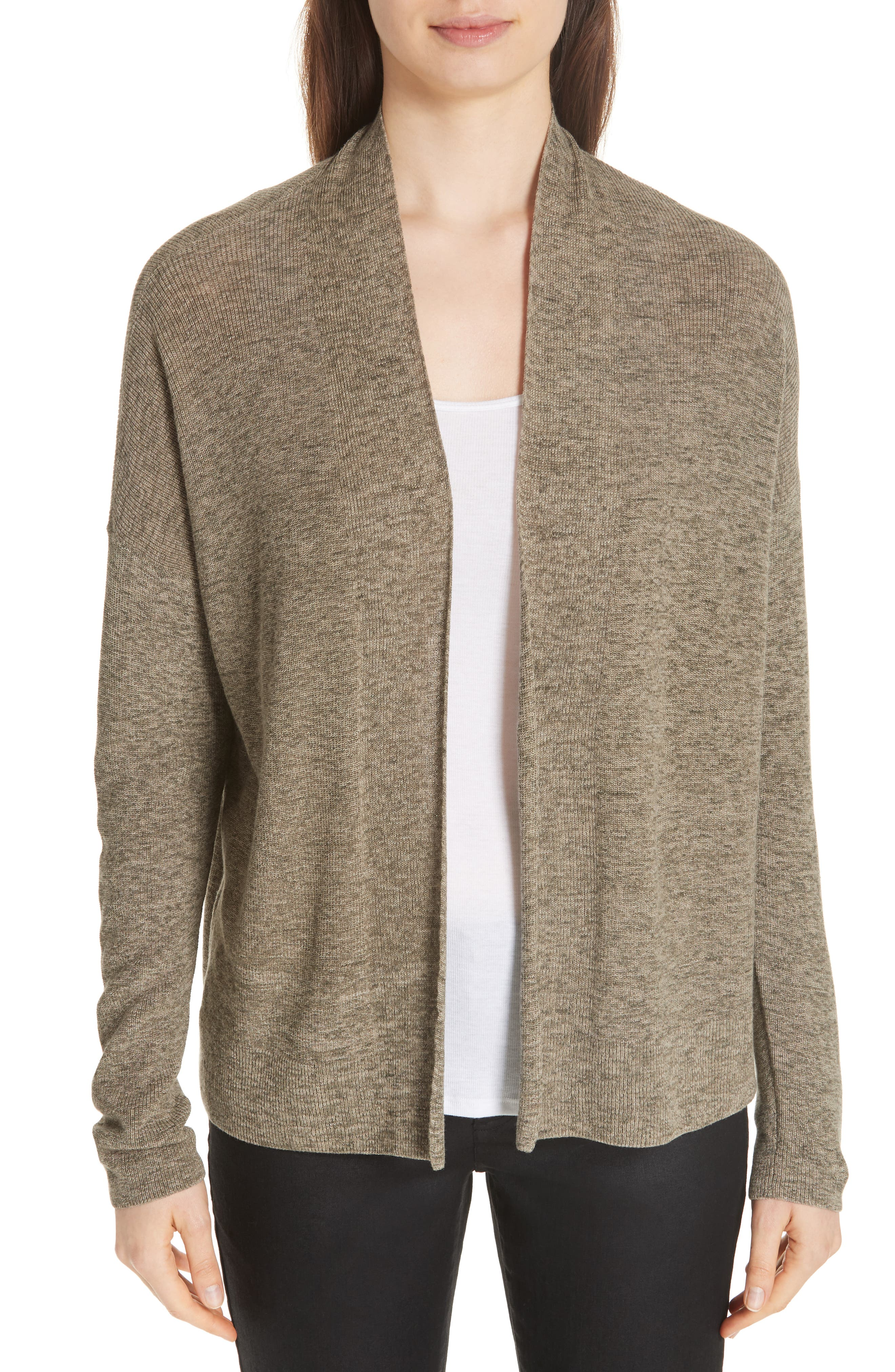 Simple Organic Cotton Cardigan,                         Main,                         color, Olive
