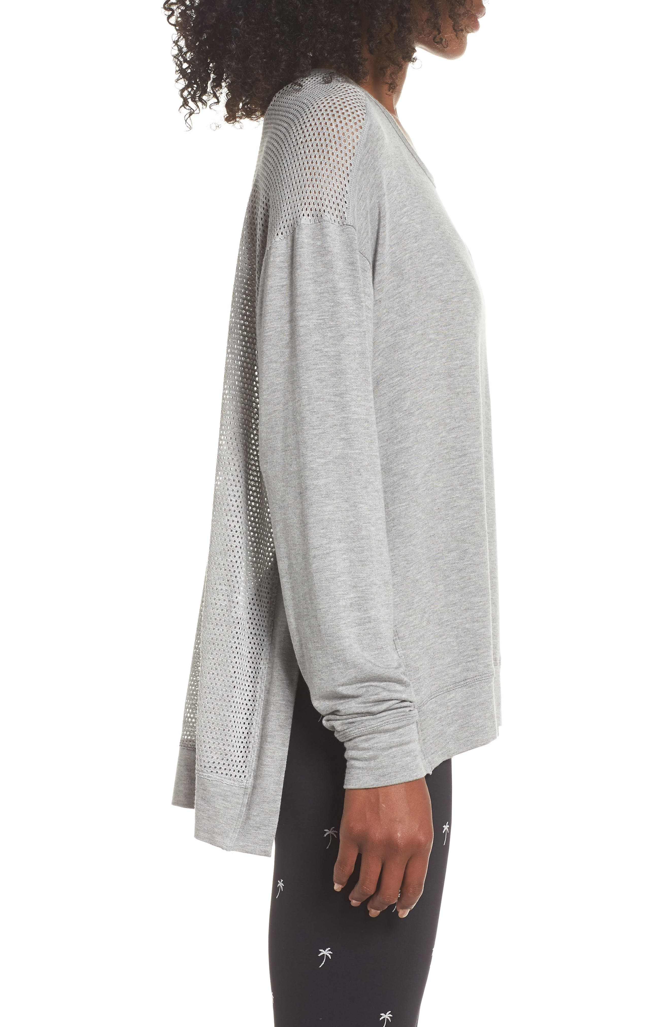 Heron Mesh Back Sweatshirt,                             Alternate thumbnail 3, color,                             Heather Grey