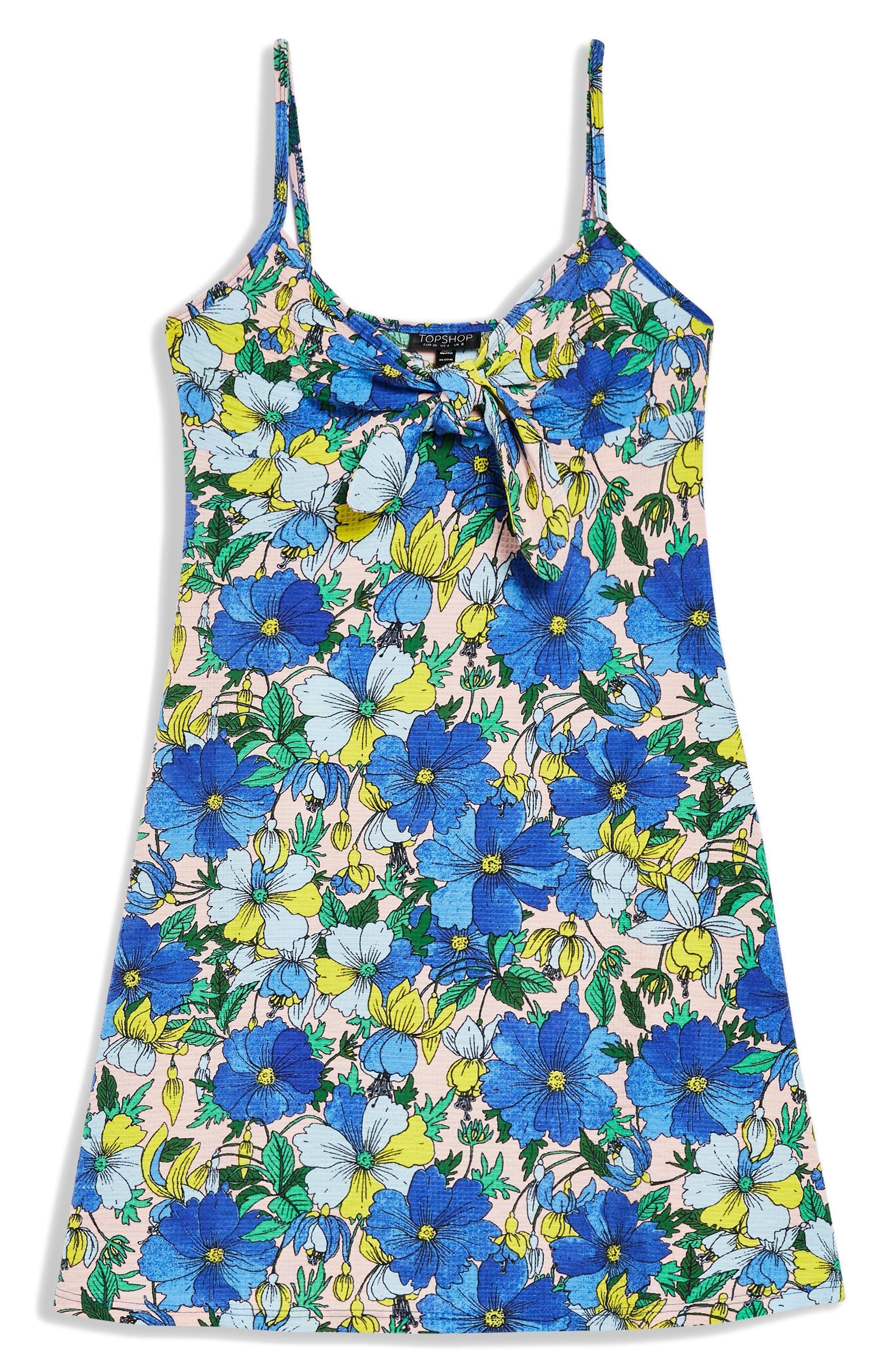 Heavy Petal Knot Front Mini Dress,                             Alternate thumbnail 4, color,                             Blue Multi