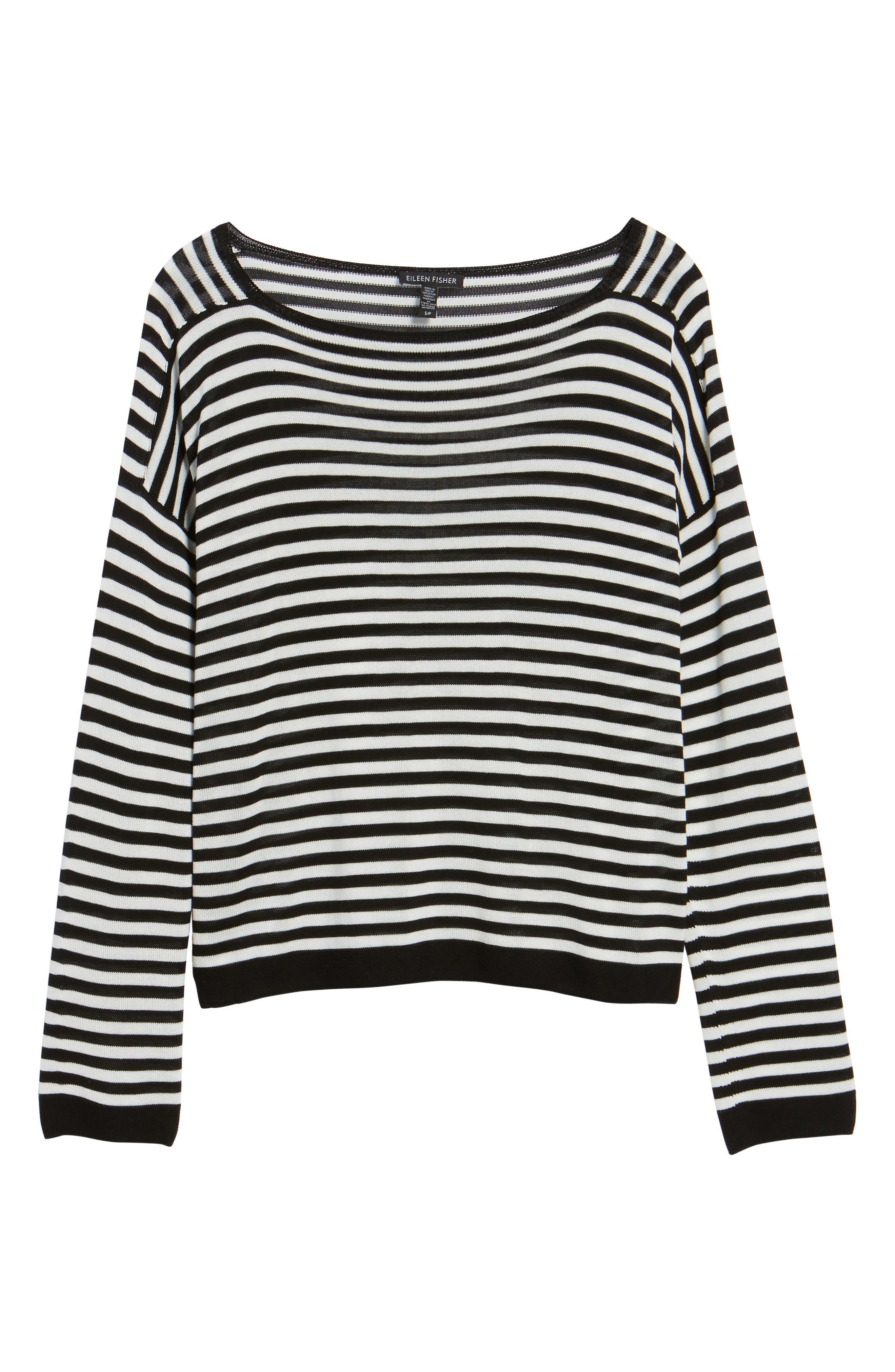 Stripe Tencel<sup>®</sup> Lyocell Knit Sweater,                             Alternate thumbnail 6, color,                             Black/ Soft White