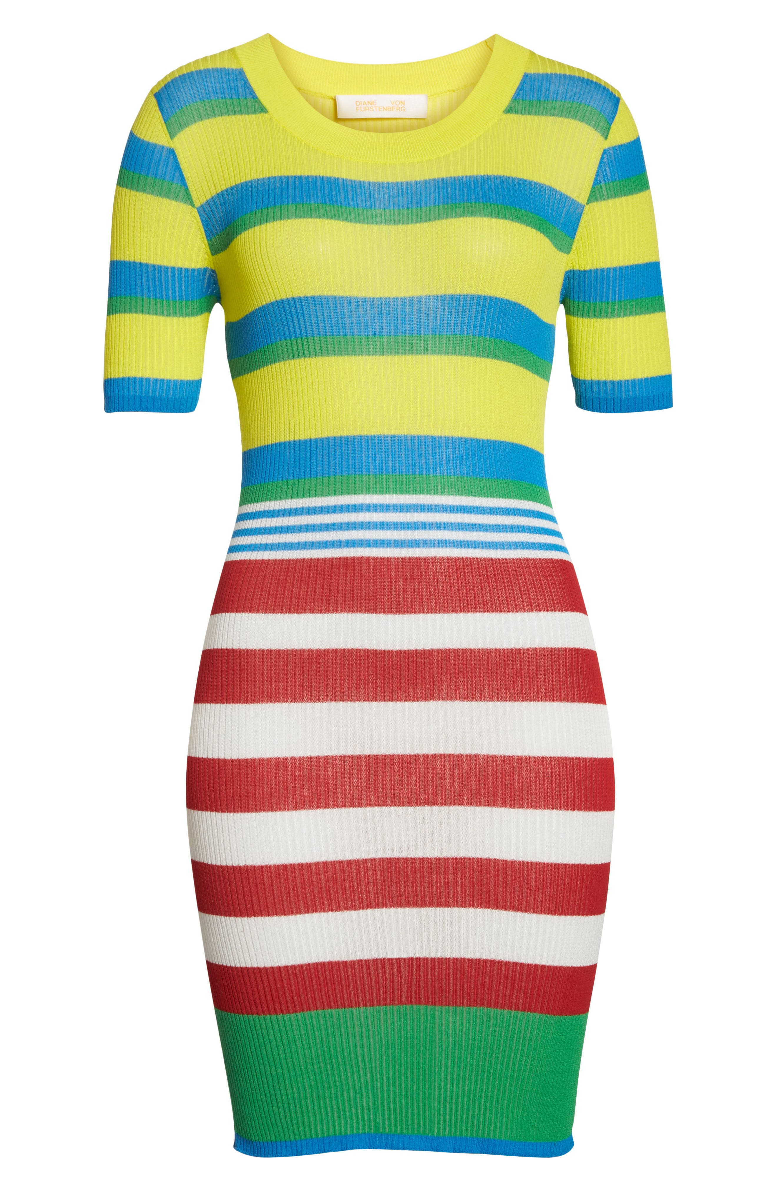 DVF Stripe Ribbed Cover-Up Sweater Dress,                             Alternate thumbnail 6, color,                             Cadmium Multi