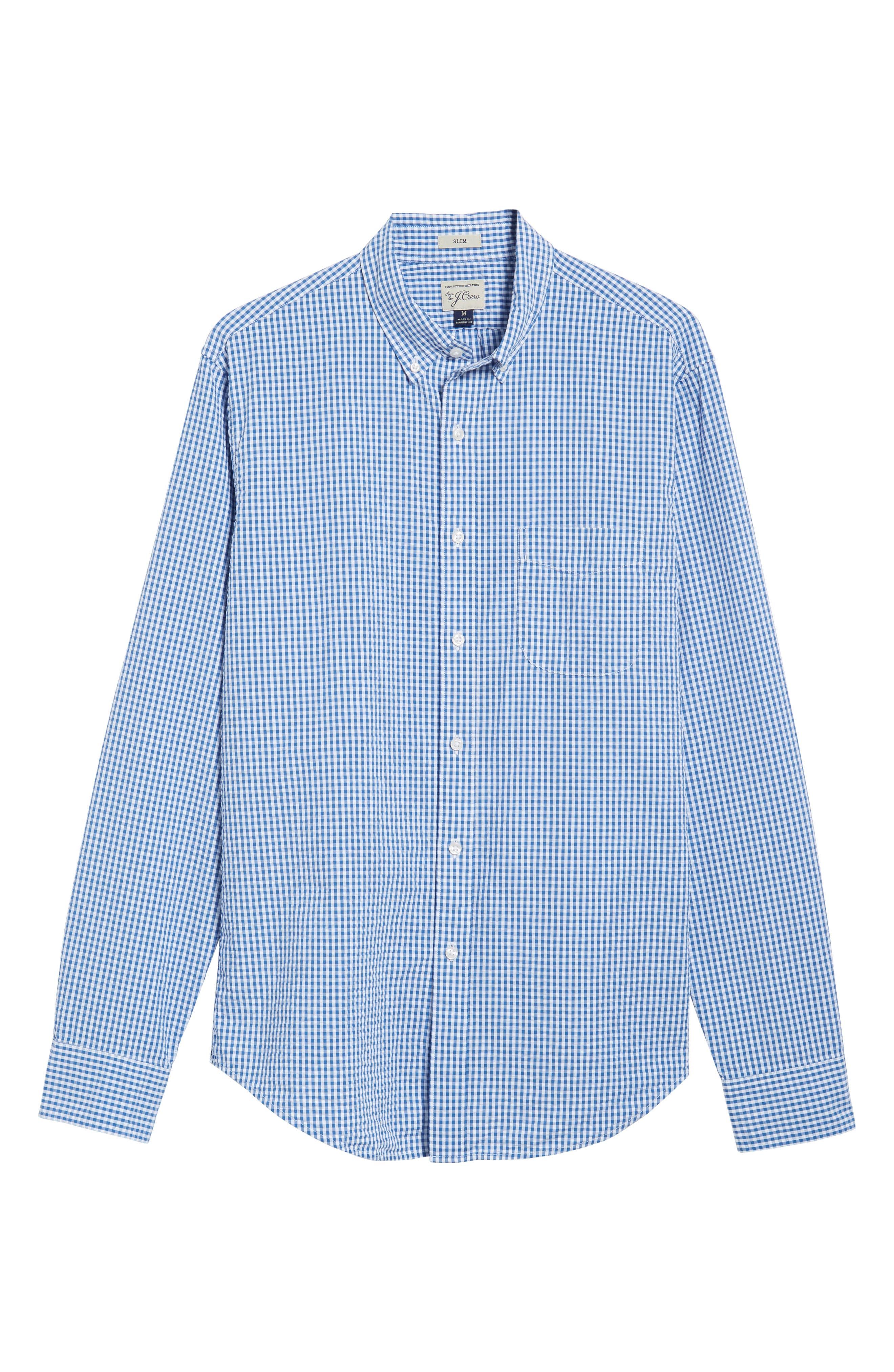 Slim Fit Gingham Seersucker Sport Shirt,                             Alternate thumbnail 6, color,                             Calm Lagoon